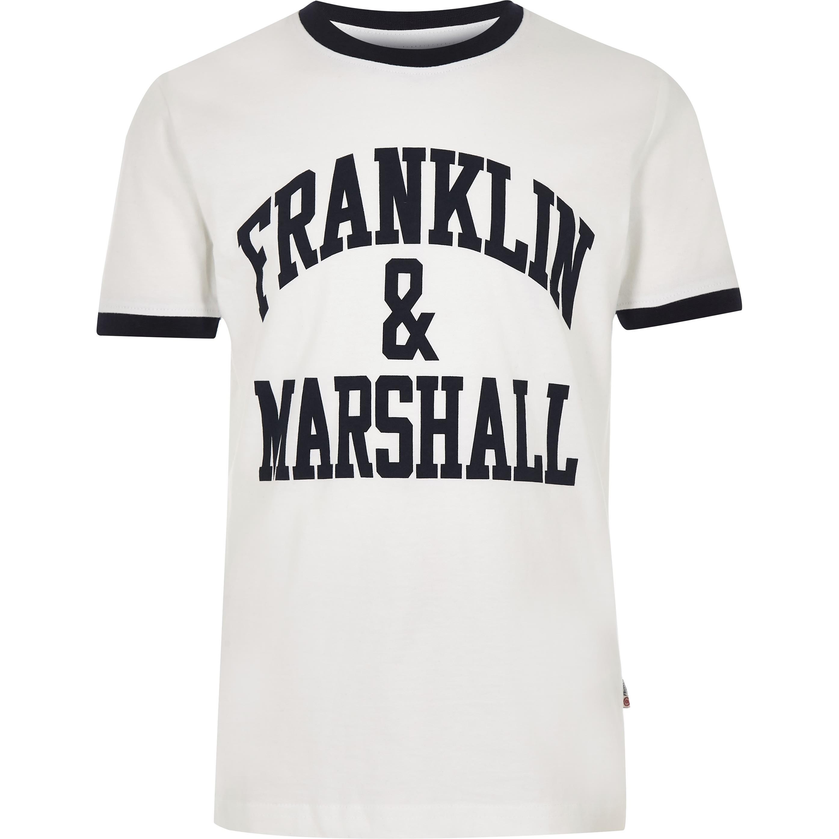 River Island Boys White Franklin & Marshall tipped T-shirt (10-11Yrs)