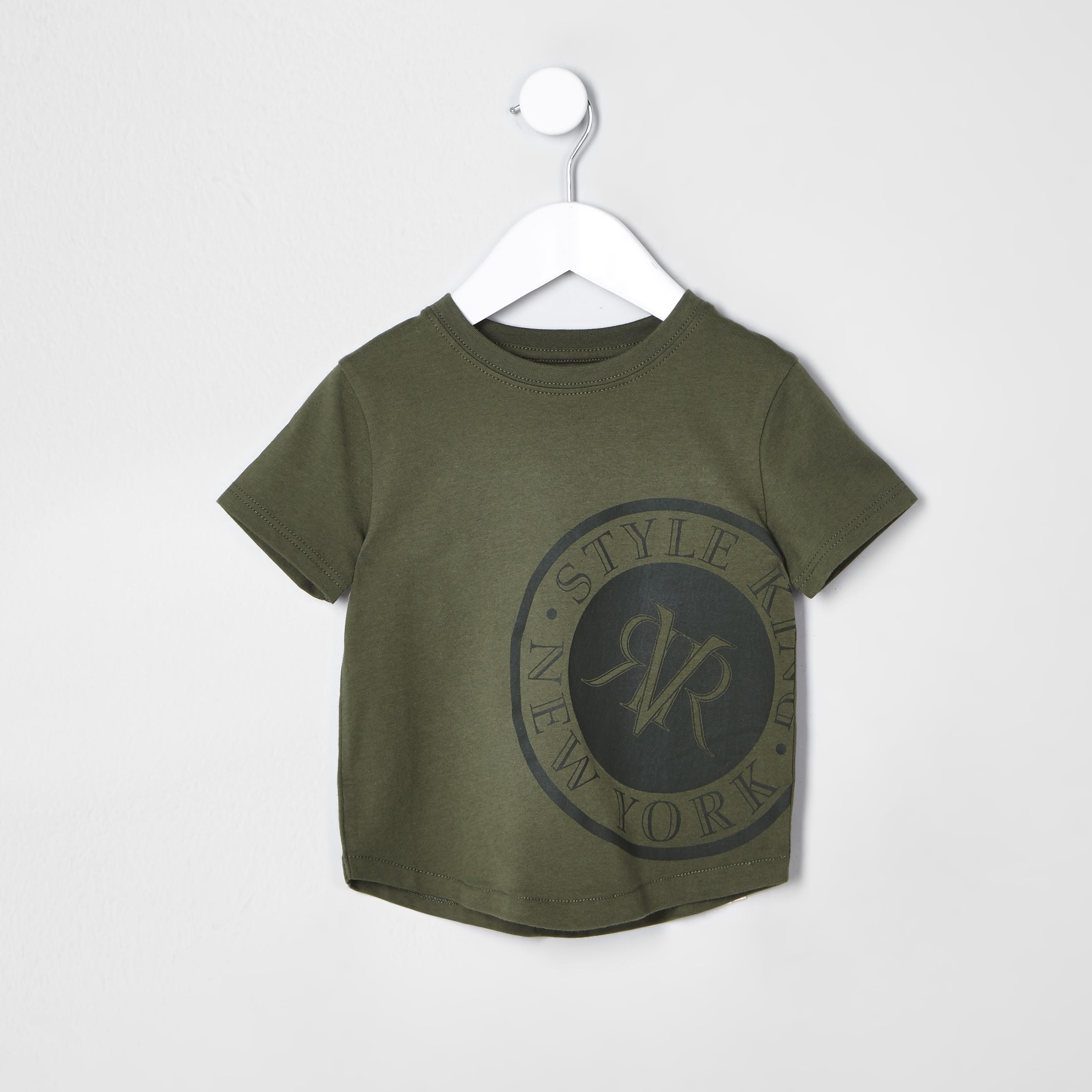 River Island Mens Baby Boys Khaki 'New York' T-shirt (6-9 Mths)