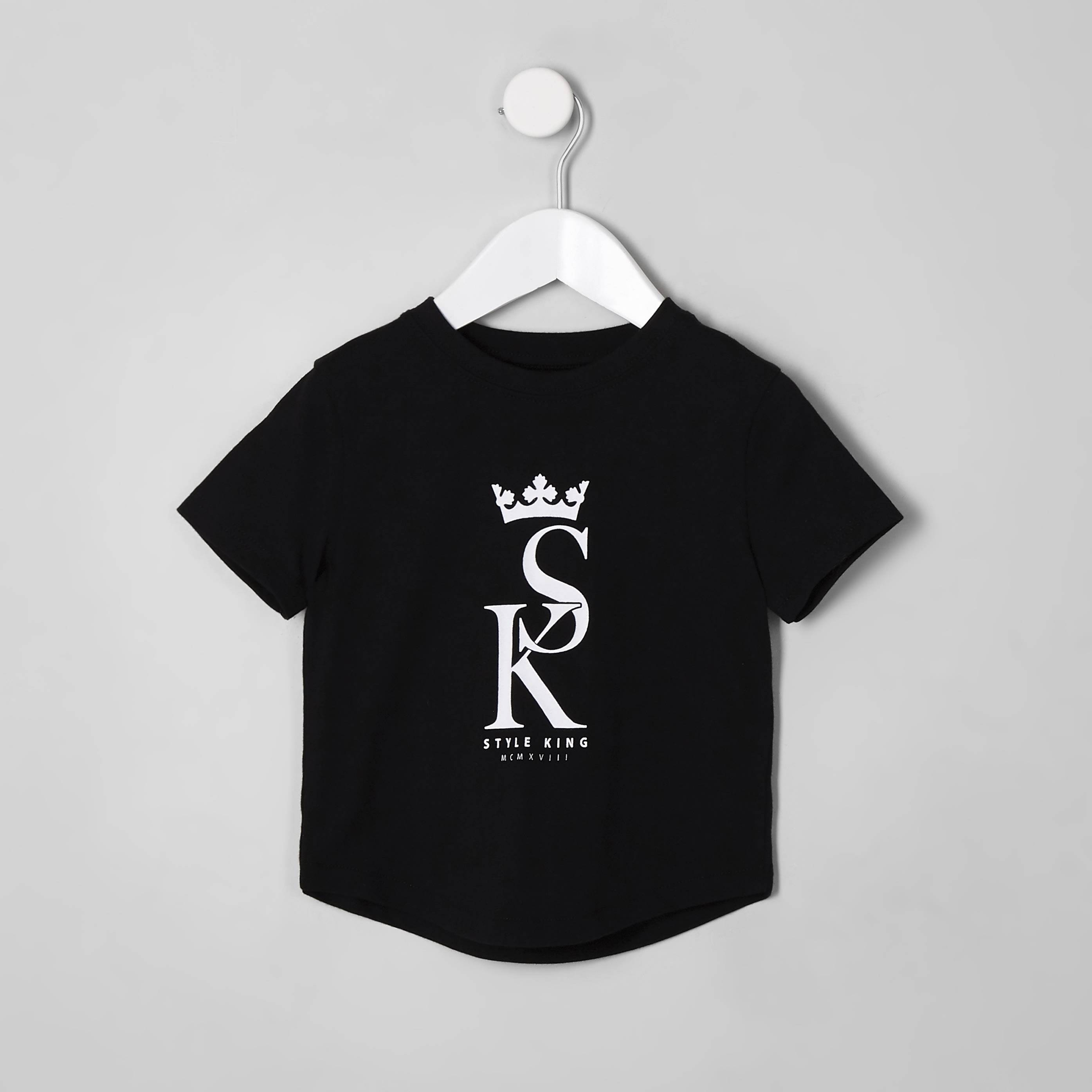 River Island Mens Baby Boys Black 'style king' T-shirt (3-6 Mths)