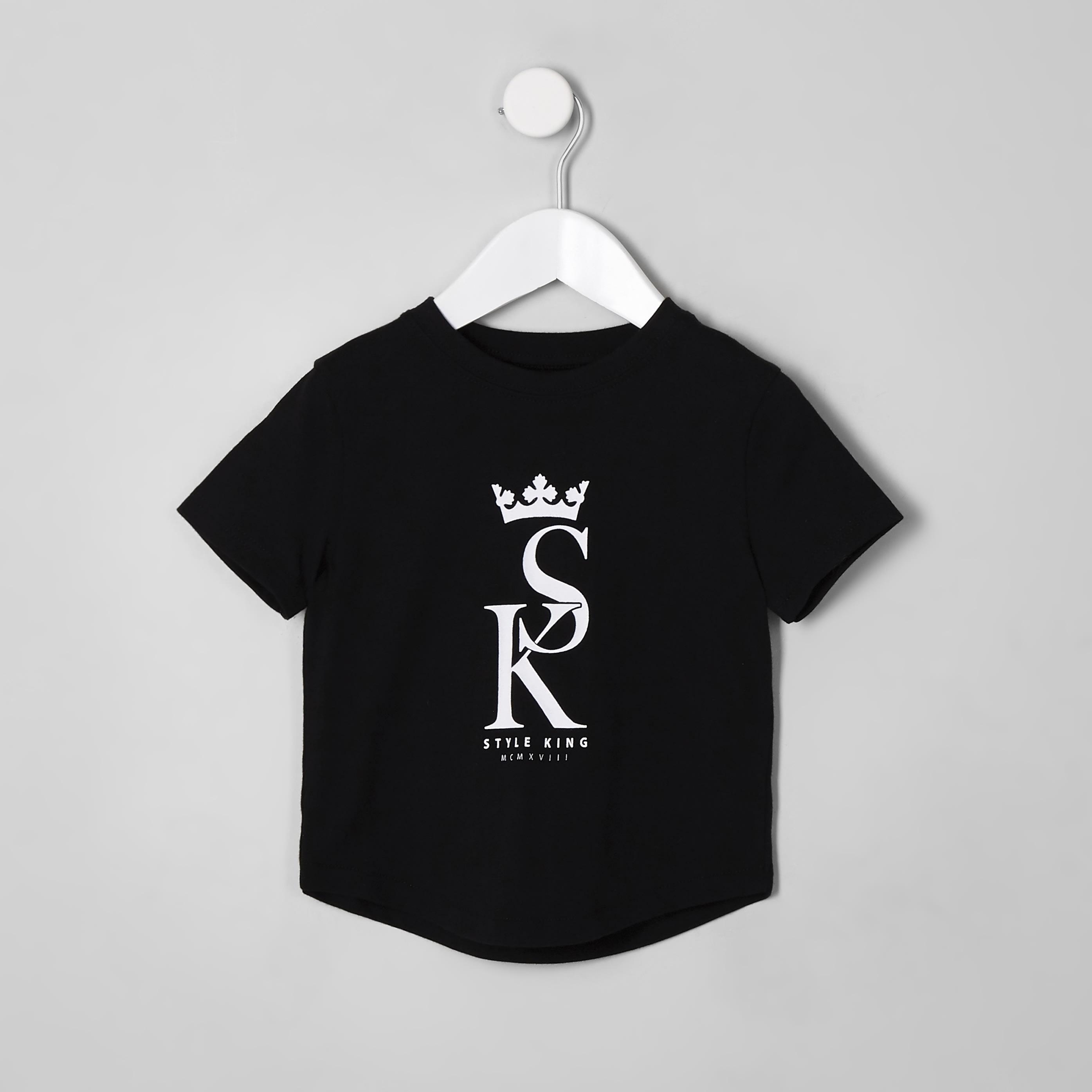 River Island Mens Baby Boys Black 'style king' T-shirt (6-9 Mths)