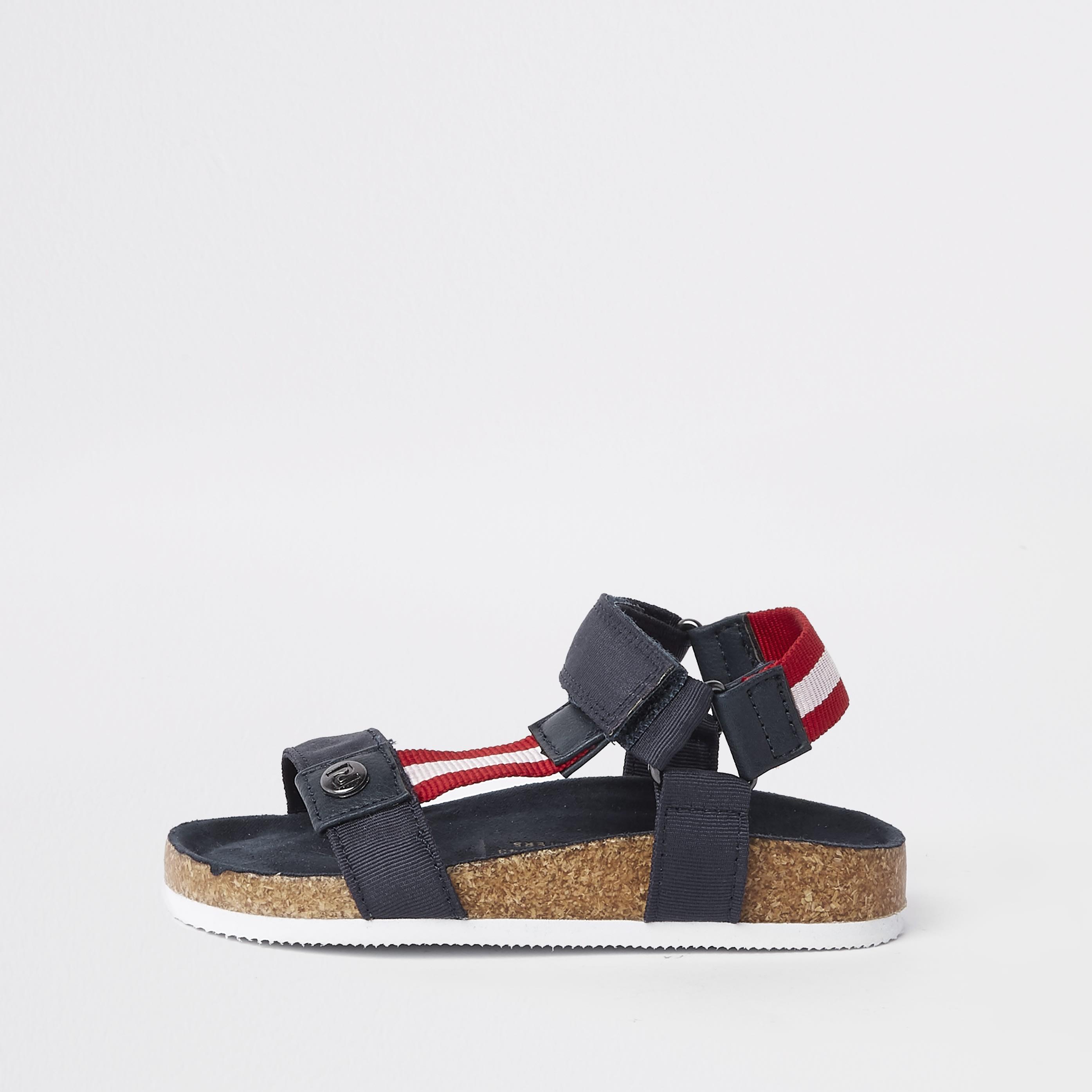 River Island Baby Boys Navy stripe cork sandals (c5)