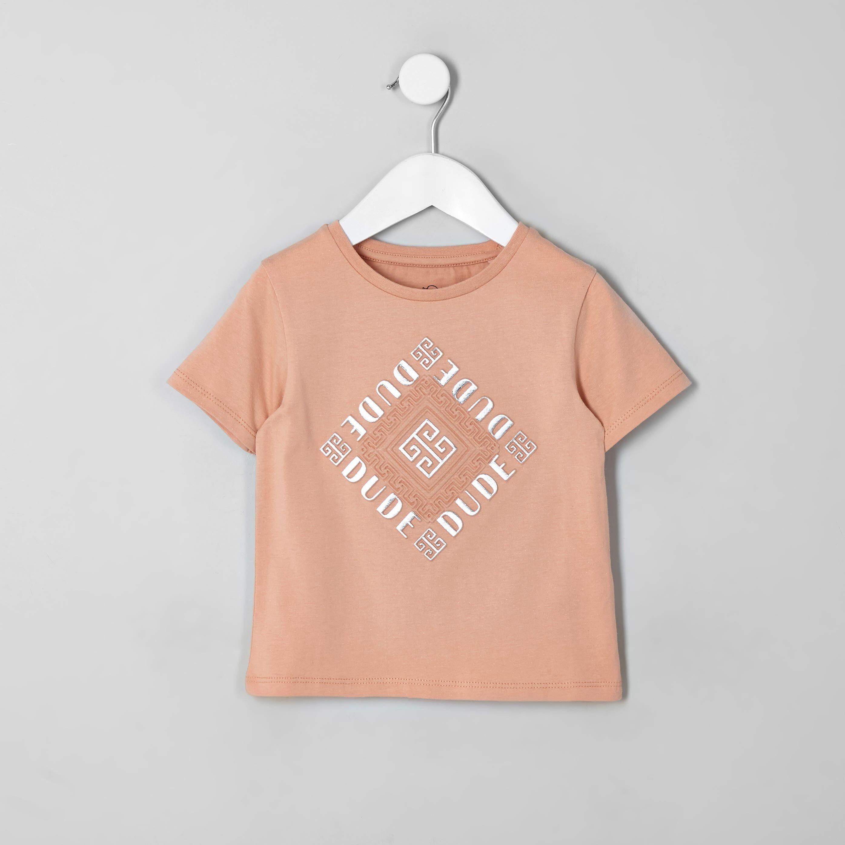 River Island Mini kids Pink foil embossed T-shirt (6-9 Mths)