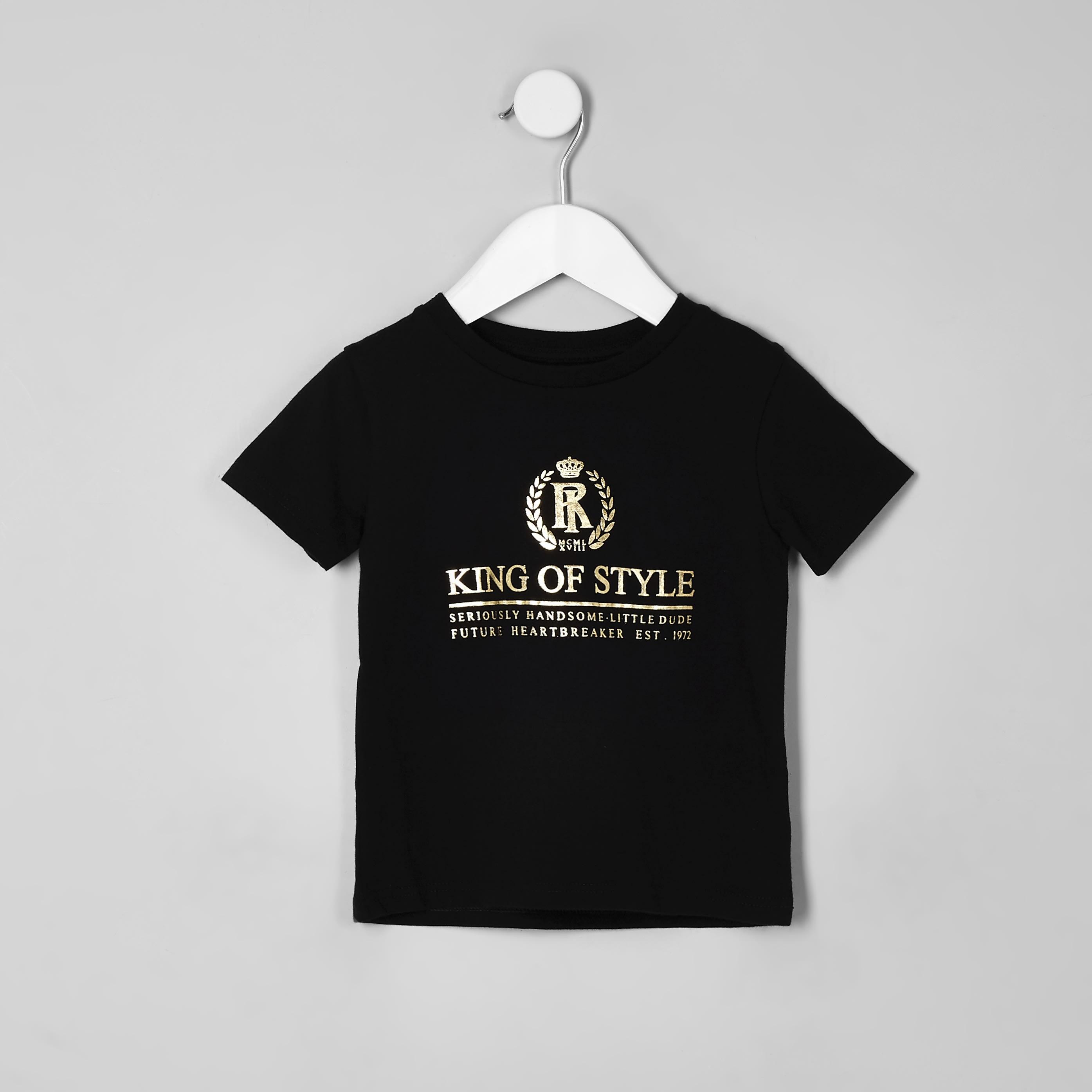 River Island Mens Baby Boys Black 'King of style' T-shirt (6-9 Mths)