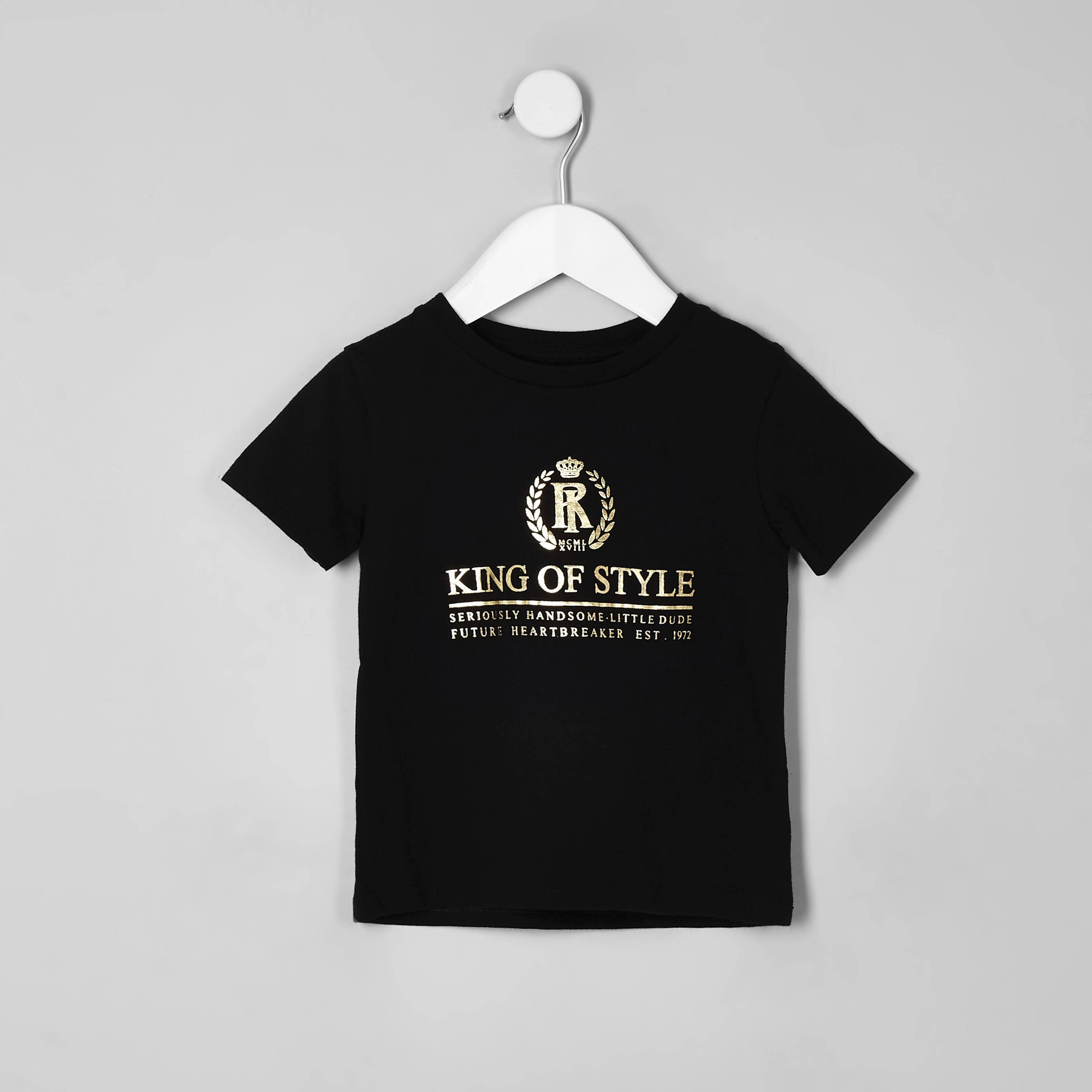 River Island Mens Baby Boys Black 'King of style' T-shirt (12-18 Mths)