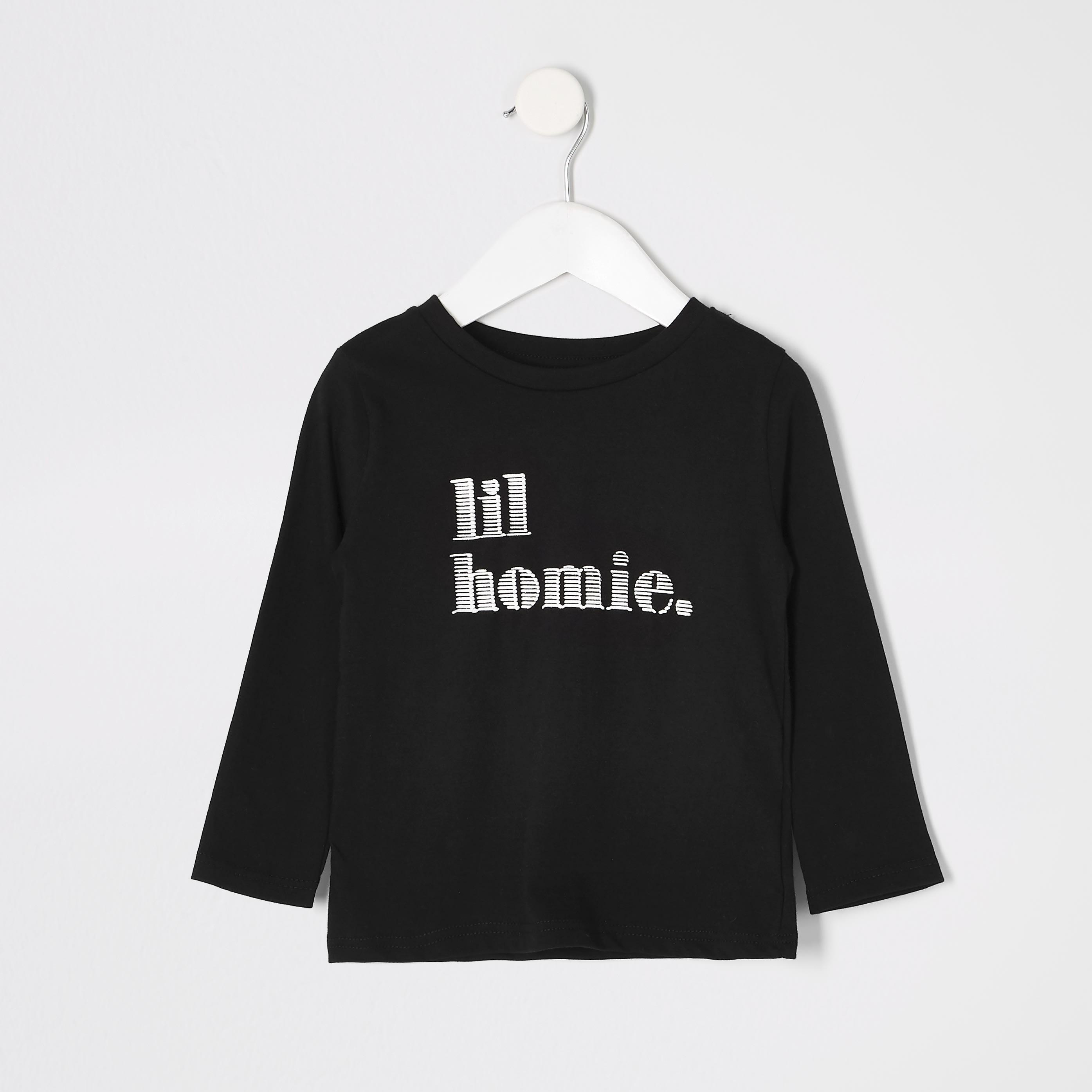 River Island Mens Baby Boys Black 'Lil homie' T-shirt (18-24 Mths)