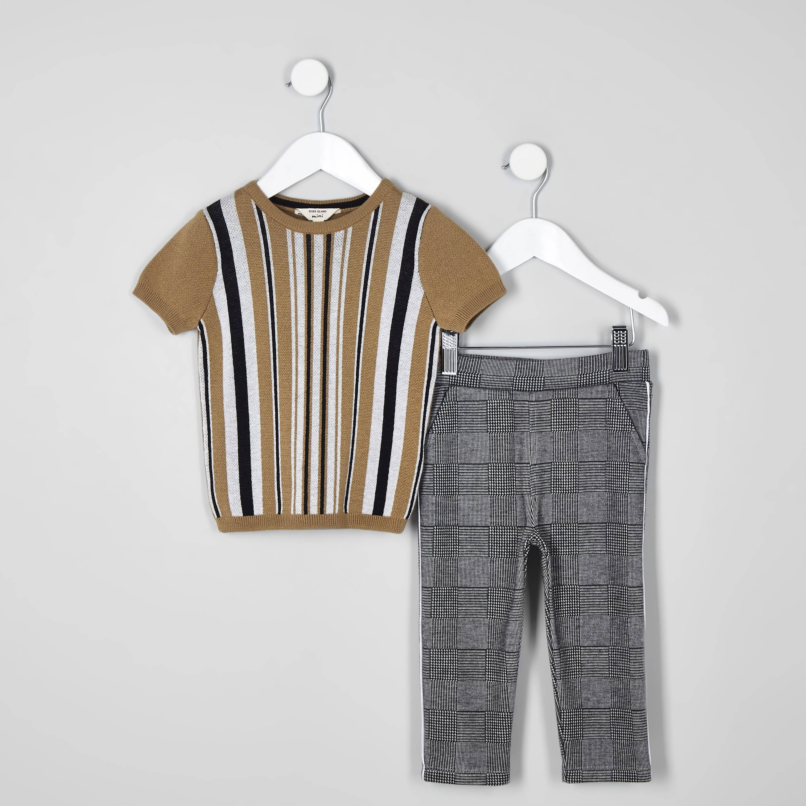 River Island Mens Baby Boys Brown stripe T-shirt outfit (3-6 Mths)