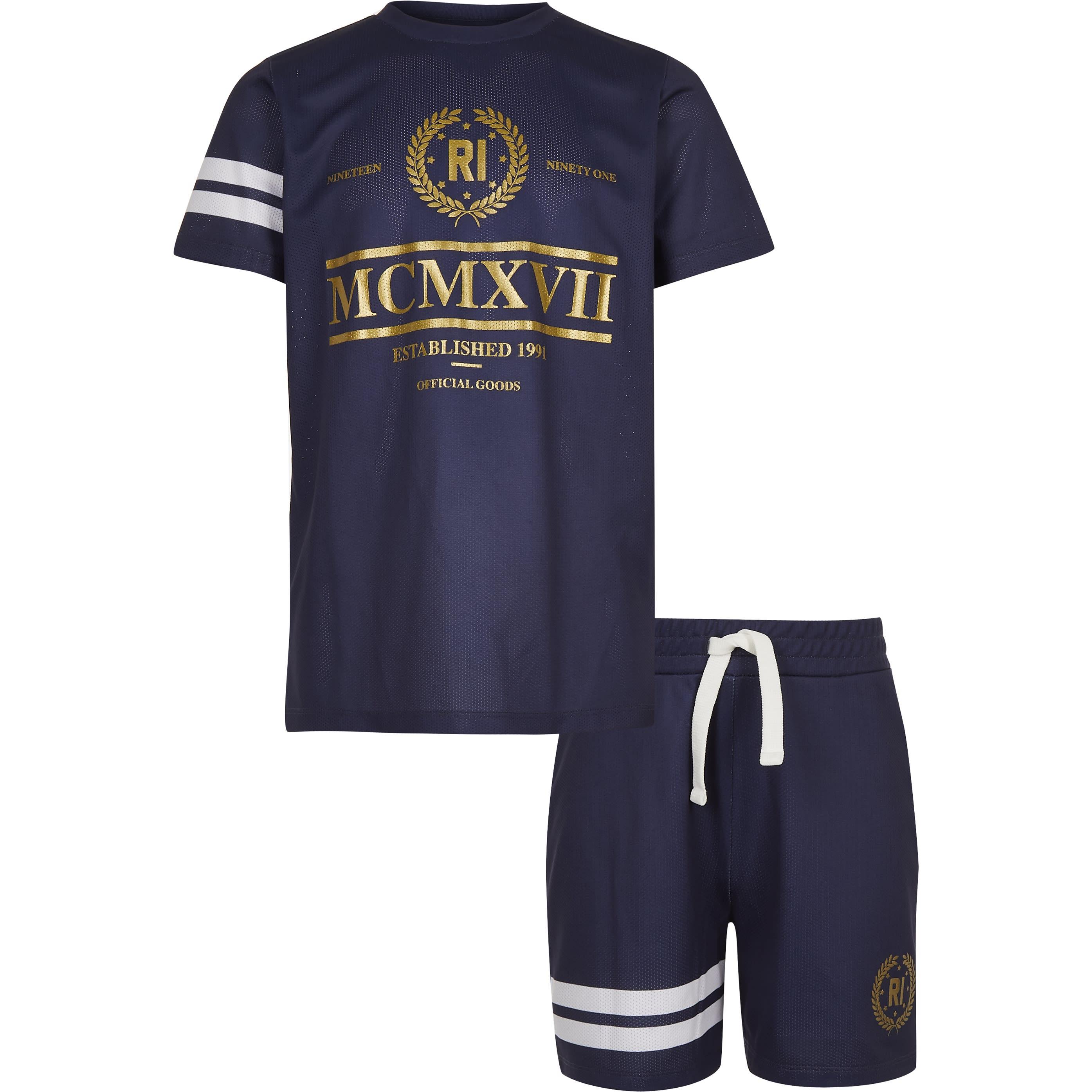 River Island Mens Boys Navy foil print mesh T-shirt outfit (11-12 Yrs)