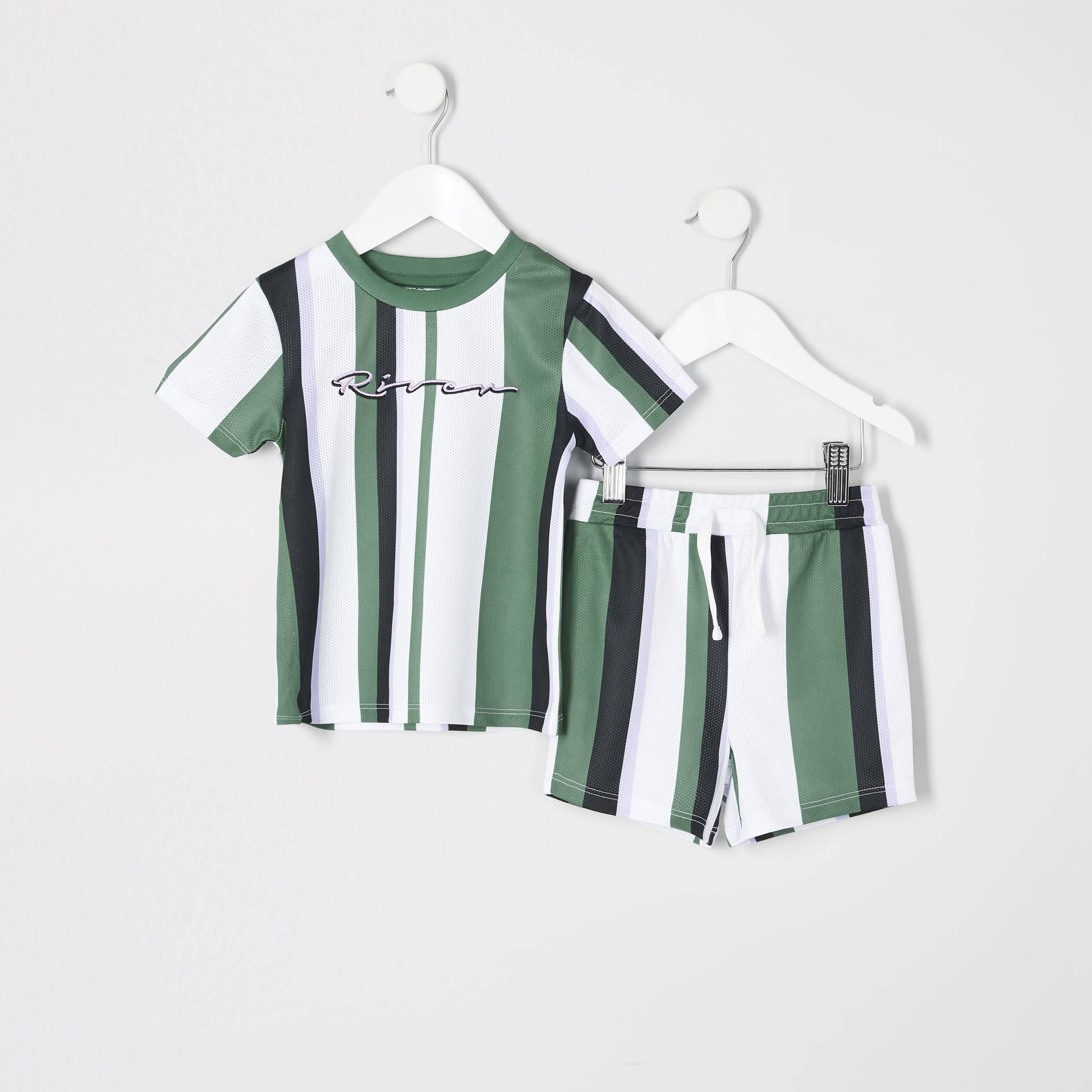 River Island Mens Baby Boys Green stripe T-shirt outfit (0-3 Mths)
