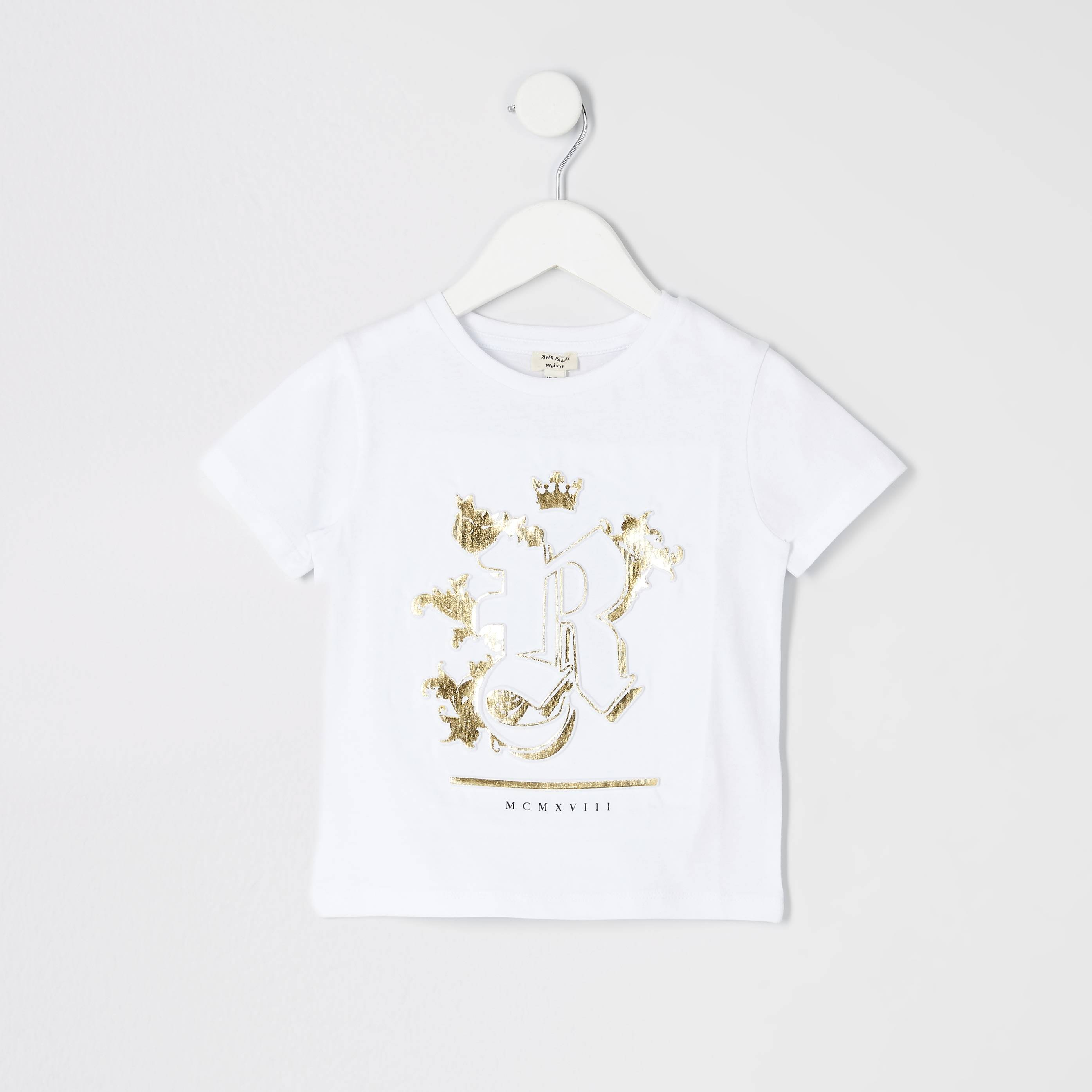 River Island Mens Baby Boys White RI embossed T-shirt (6-9 Mths)