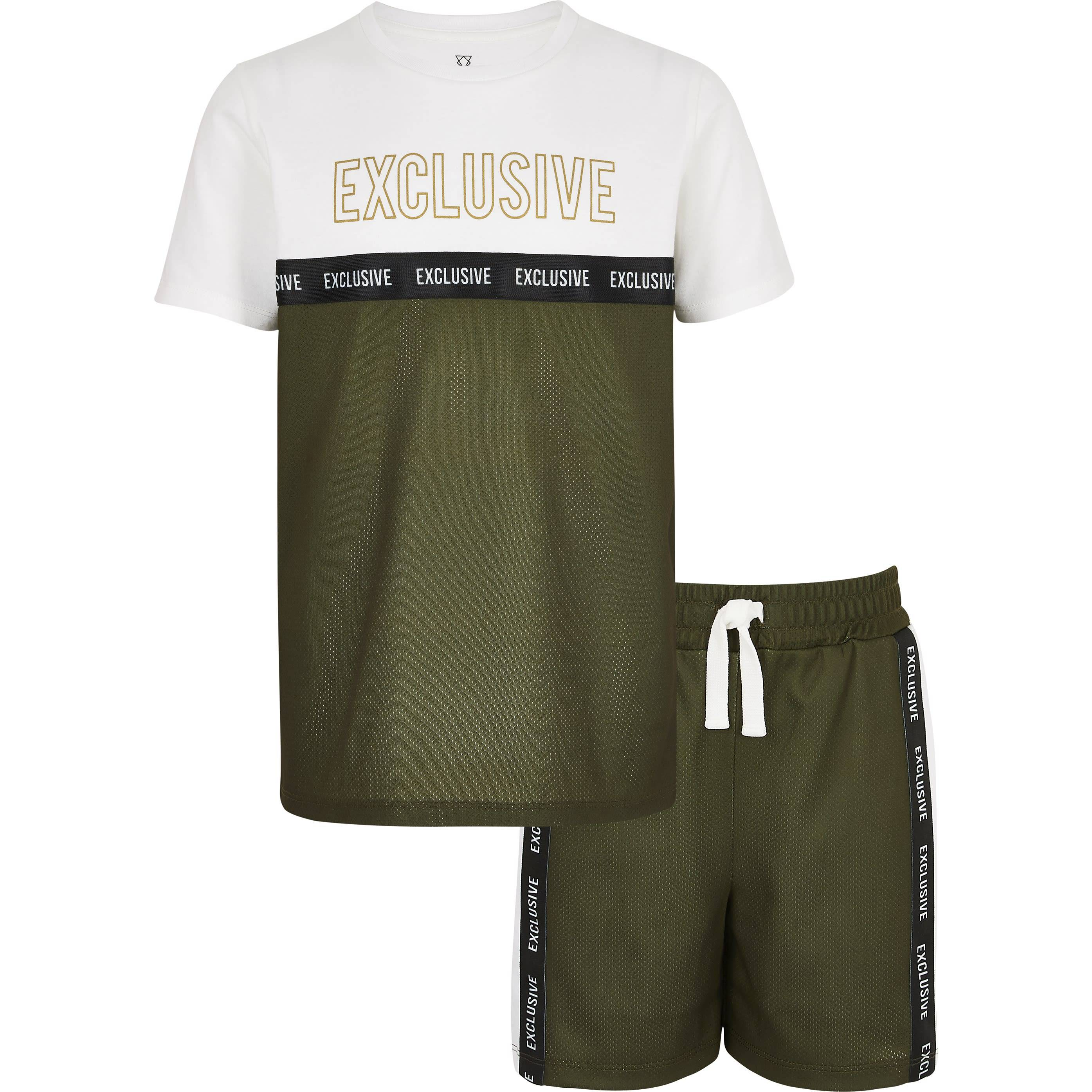 River Island Mens Boys Khaki printed mesh T-shirt outfit (9-10 Yrs)