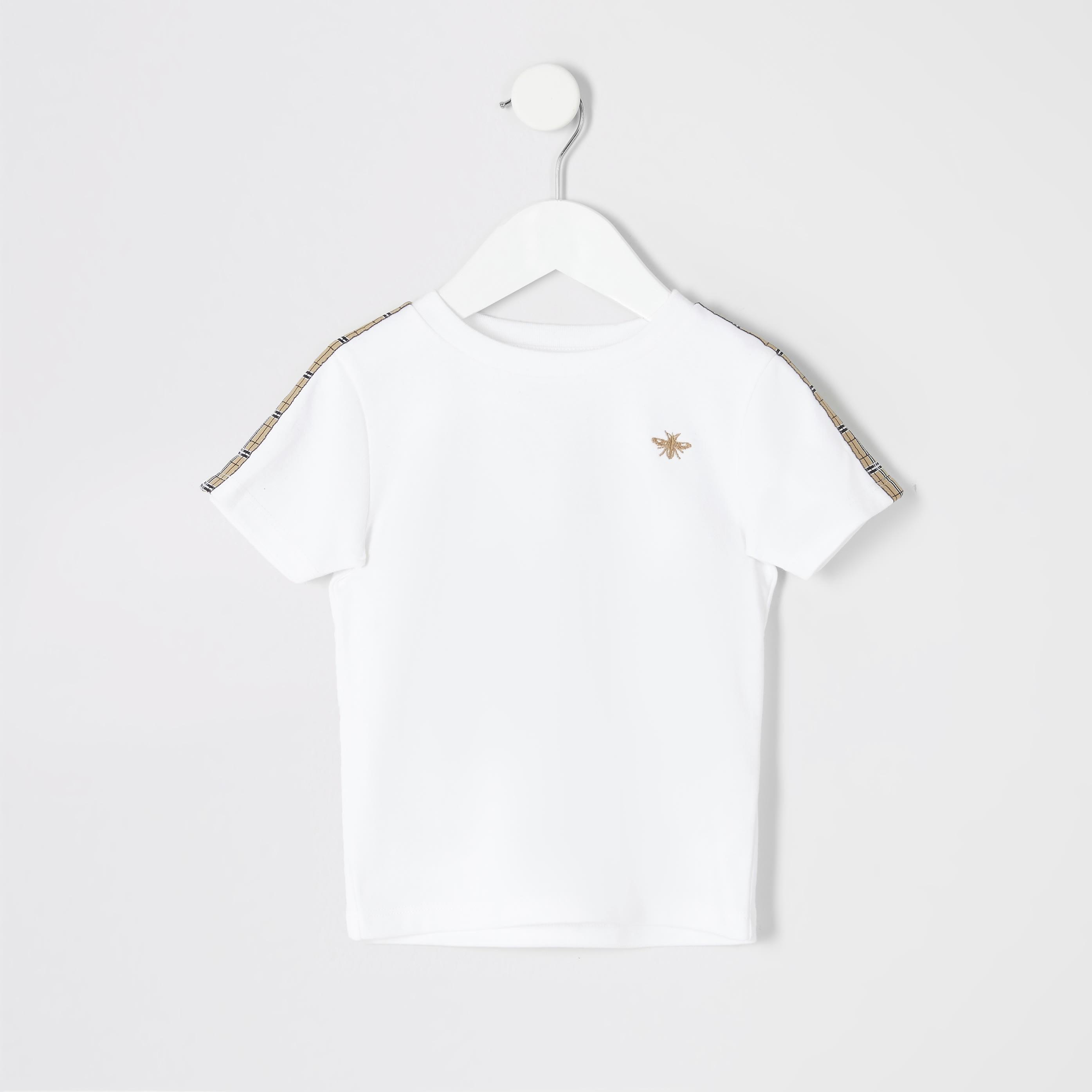 River Island Baby Boys White check tape T-shirt (2-3 Yrs)