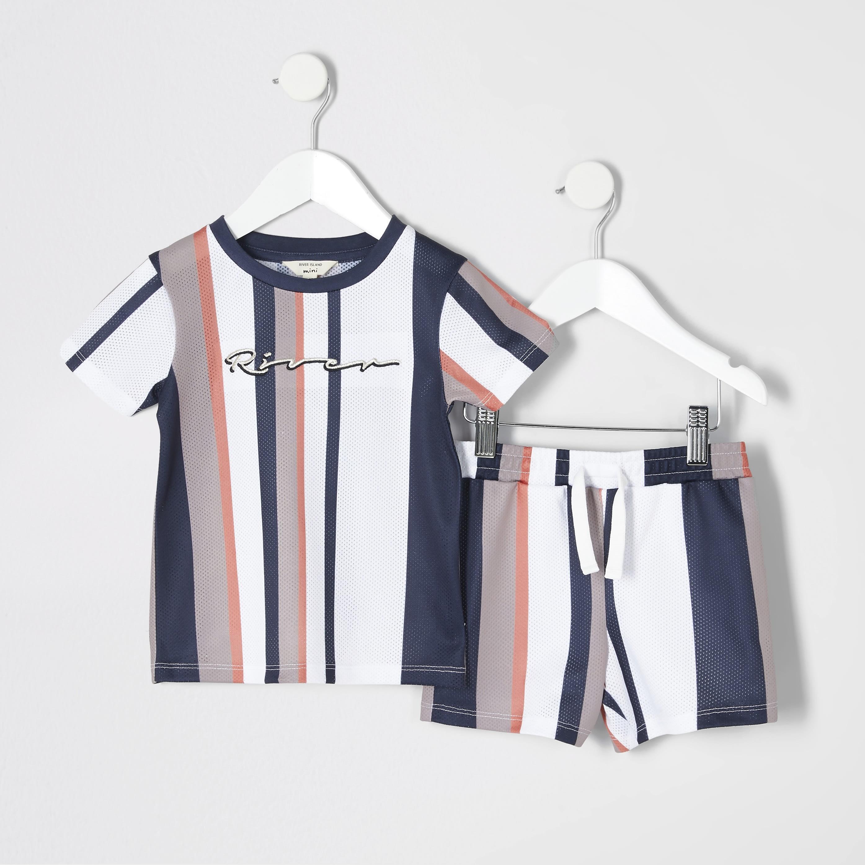River Island Baby Boys Beige stripe mesh T-shirt outfit (3-6 Mths)