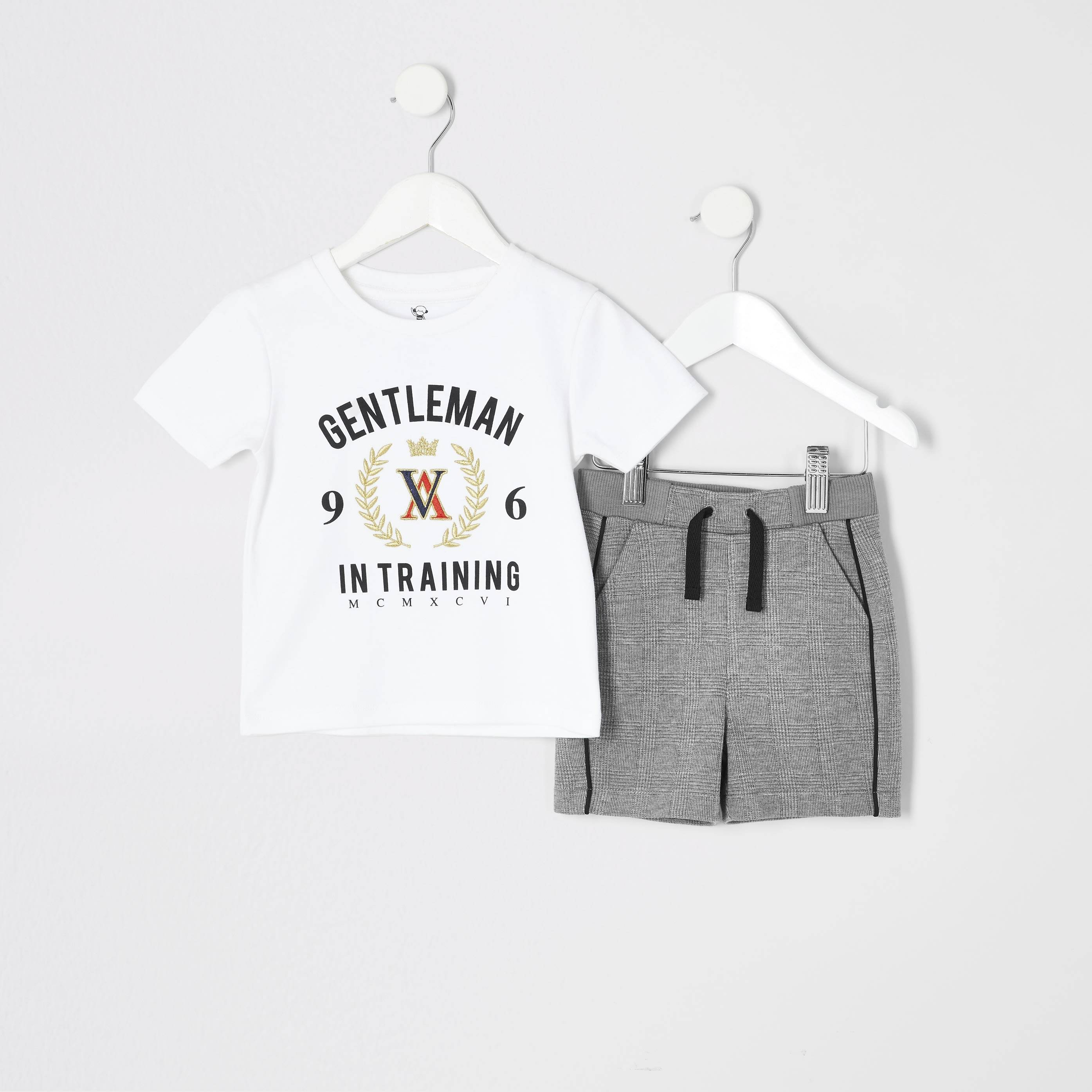 River Island Mens Baby Boys White printed T-shirt outfit (6-9 Mths)