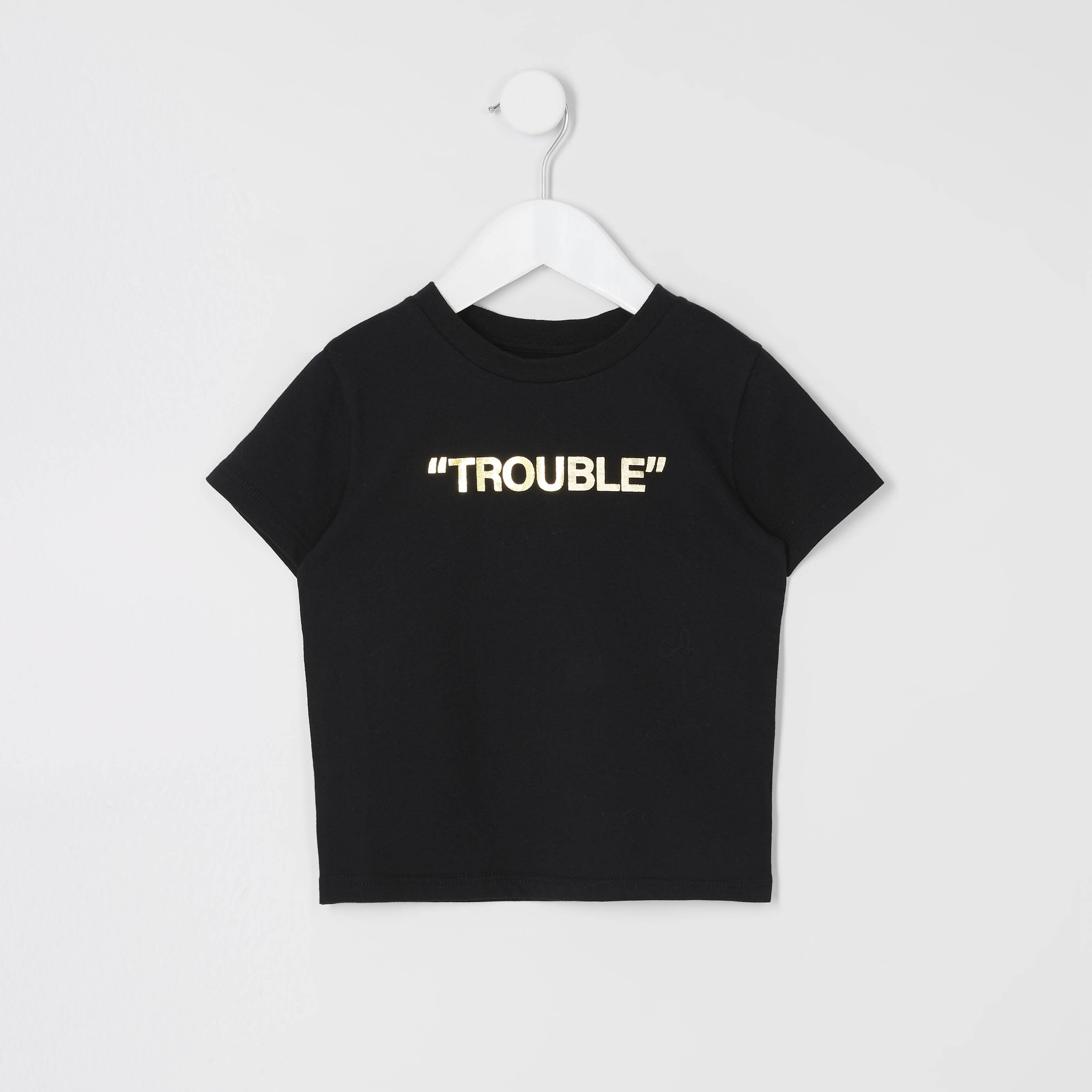 River Island Mens Baby Boys Black 'Mini boss' printed T-shirt (6-9 Mths)