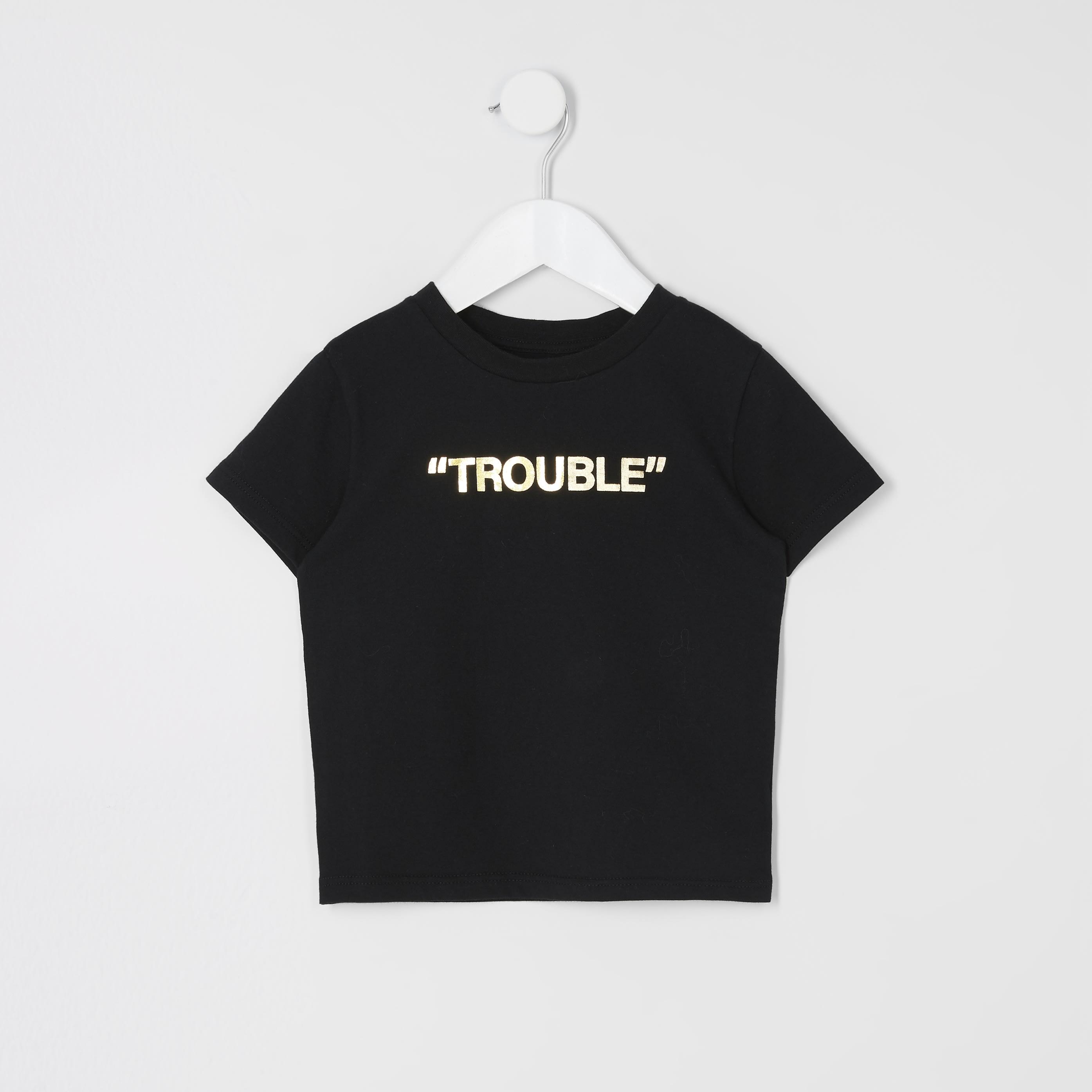 River Island Mens Baby Boys Black 'Mini boss' printed T-shirt (4-5 Yrs)