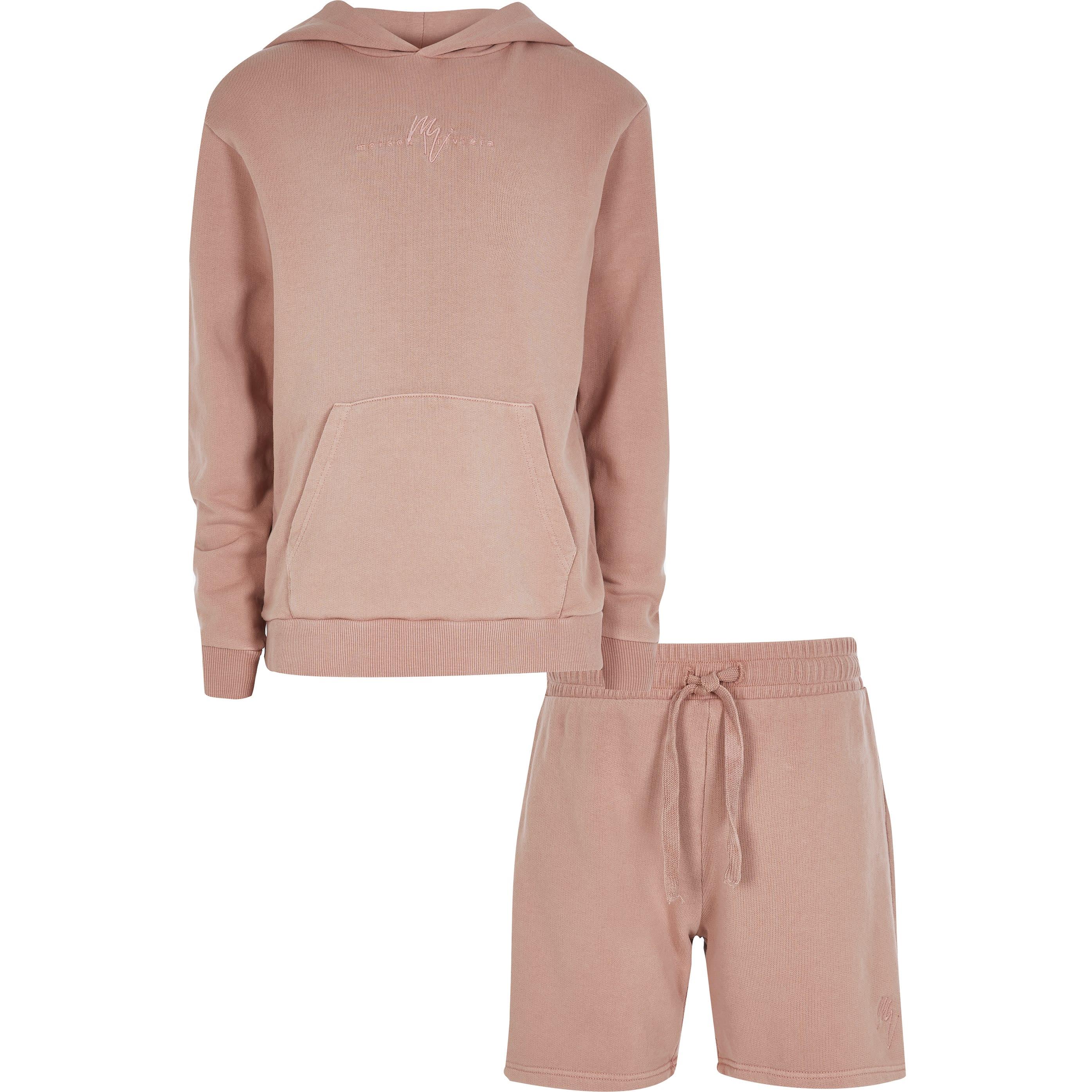 river island Boys Pink washed Hoody Set (7-8 Yrs)
