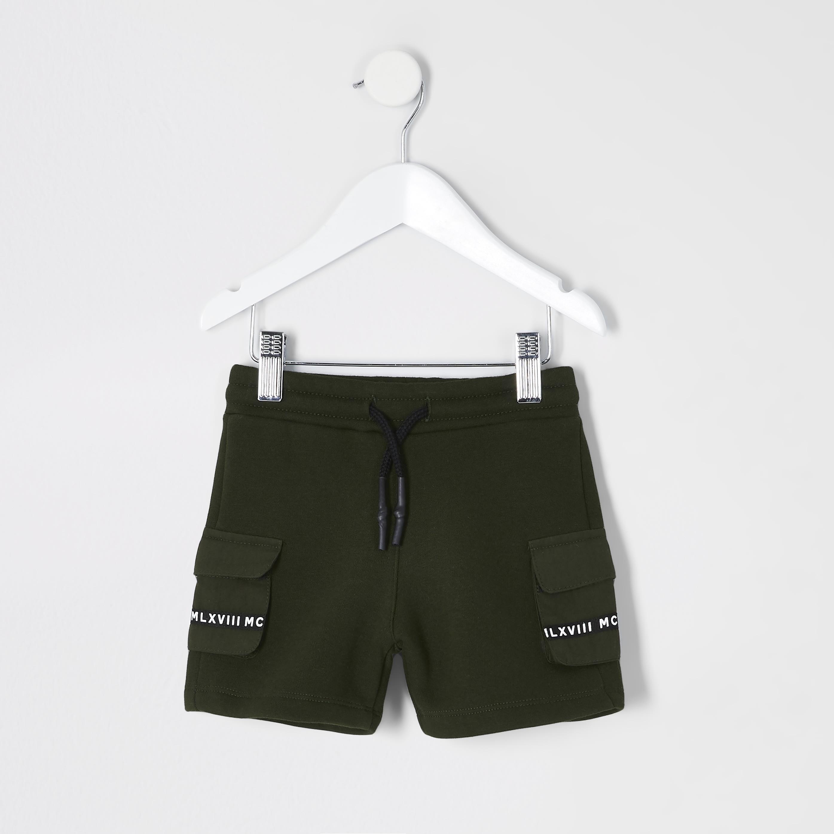 river island Baby Boys Khaki utility MCMLX pocket shorts (6-9 Mths)