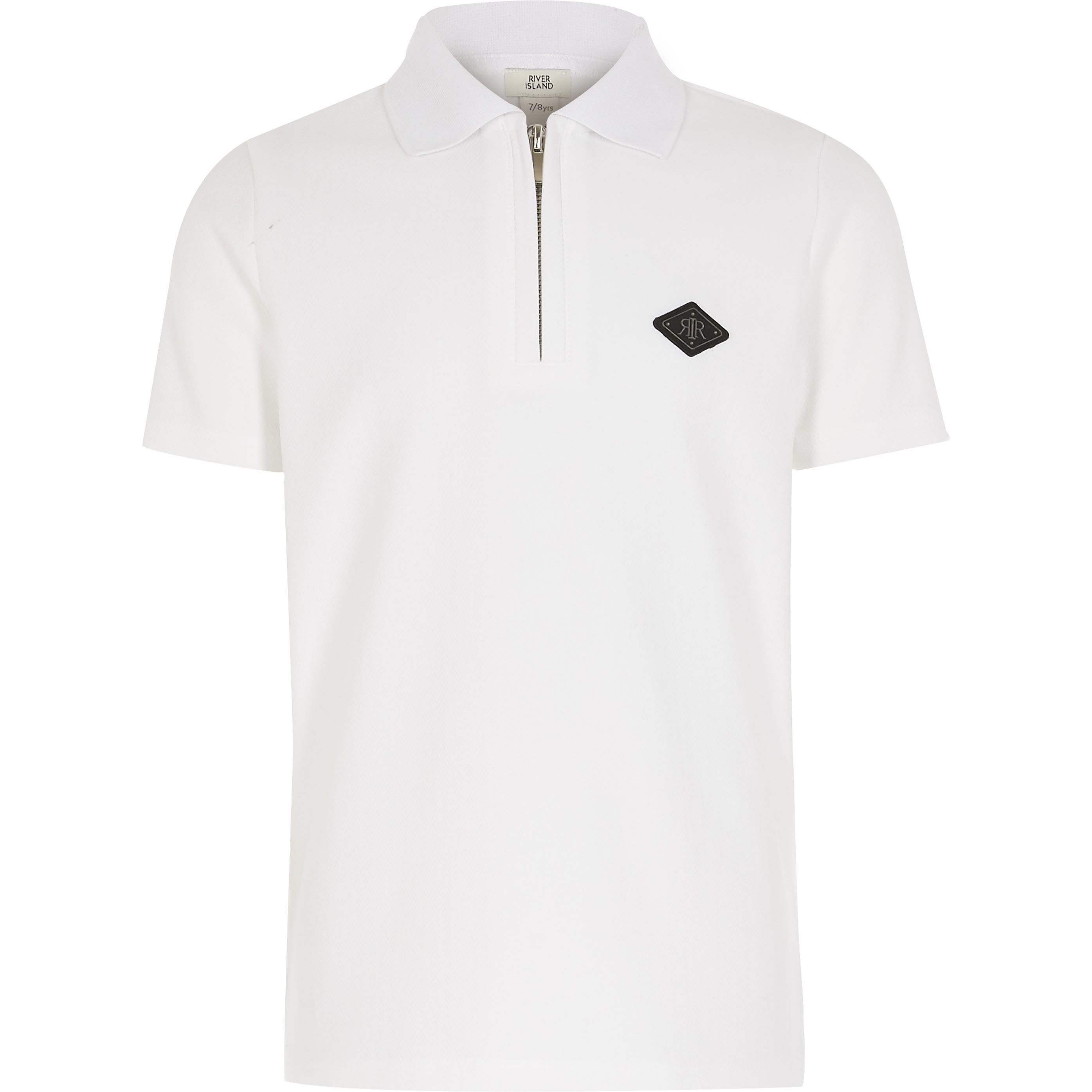 river island Boys White textured half zip polo shirt (5-6 Yrs)