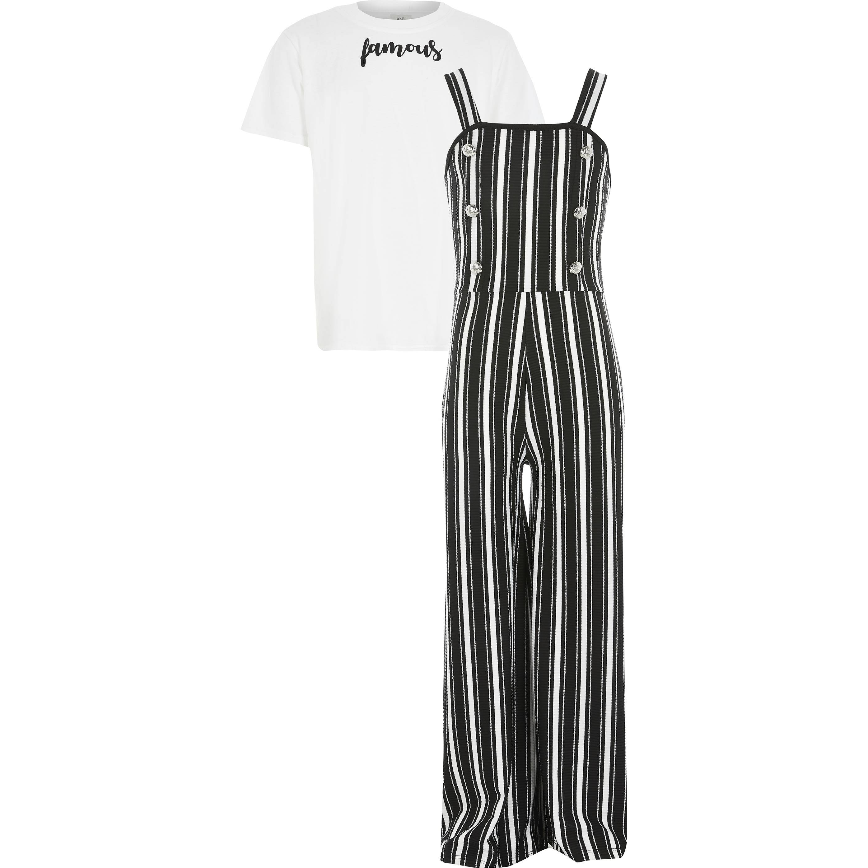 River Island Girls Black stripe pinafore jumpsuit outfit (5-6 Yrs)