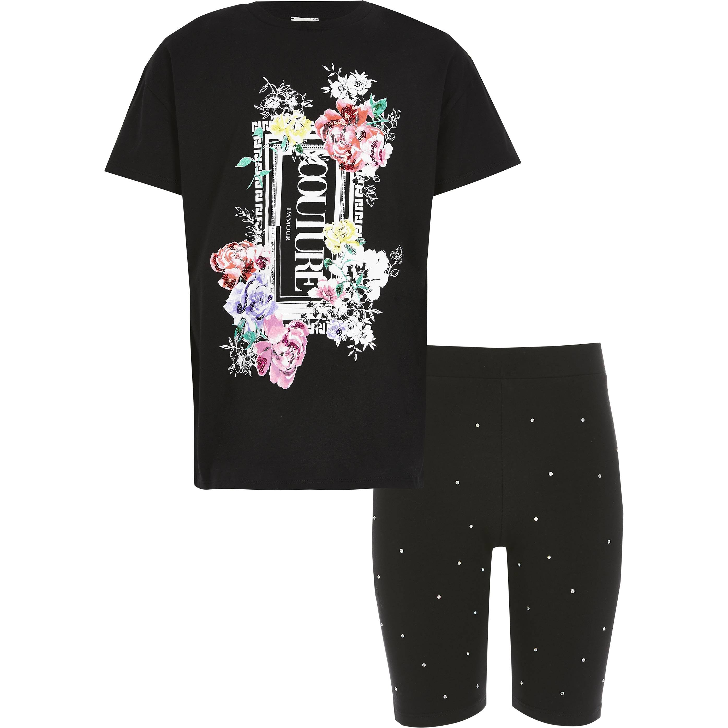 River Island Girls Black printed oversized T-shirt outfit (11-12 Yrs)