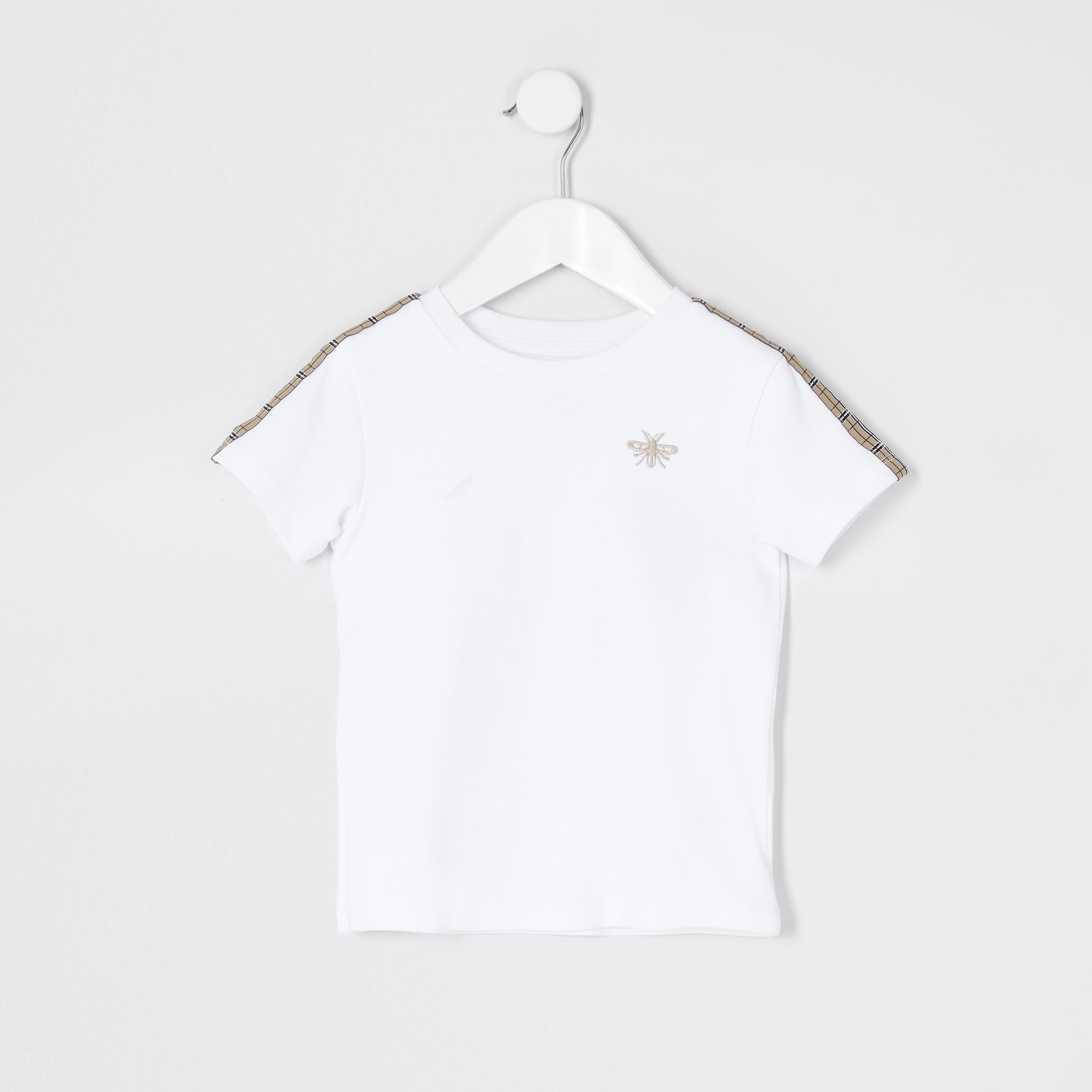 River Island Baby Boys White tape short sleeve T-shirt (2-3 Yrs)