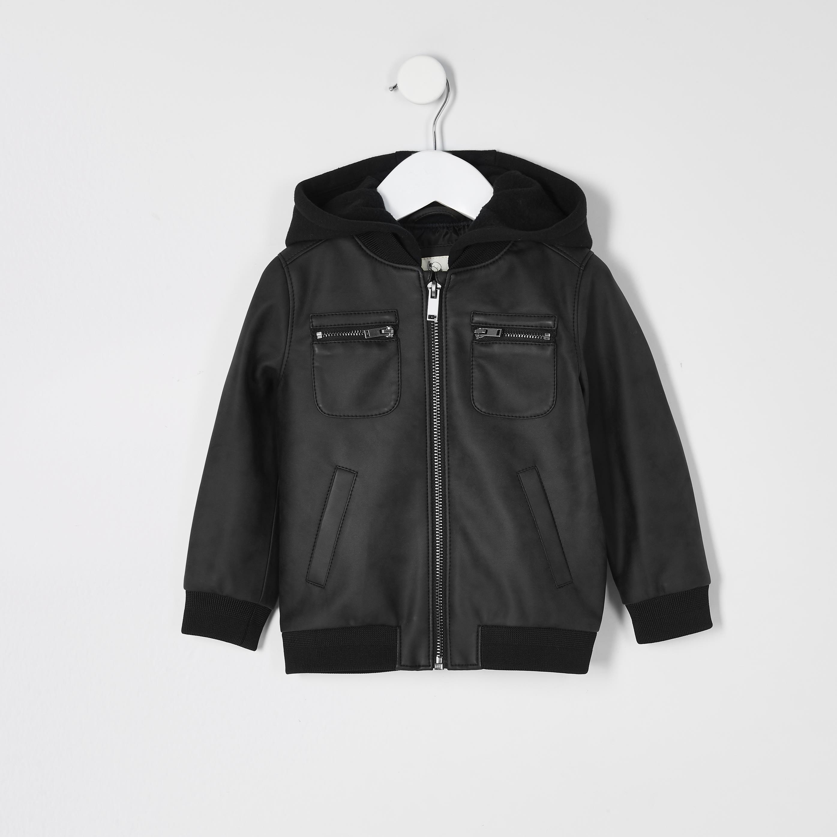 river island Baby Boys dark Grey faux leather hood jacket (2-3 Yrs)