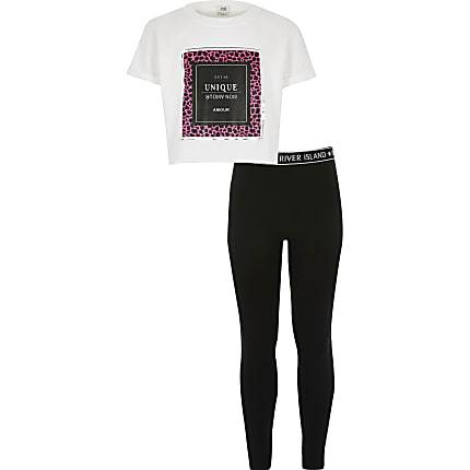River Island Girls White printed crop T-shirt outfit (7-8 Yrs)