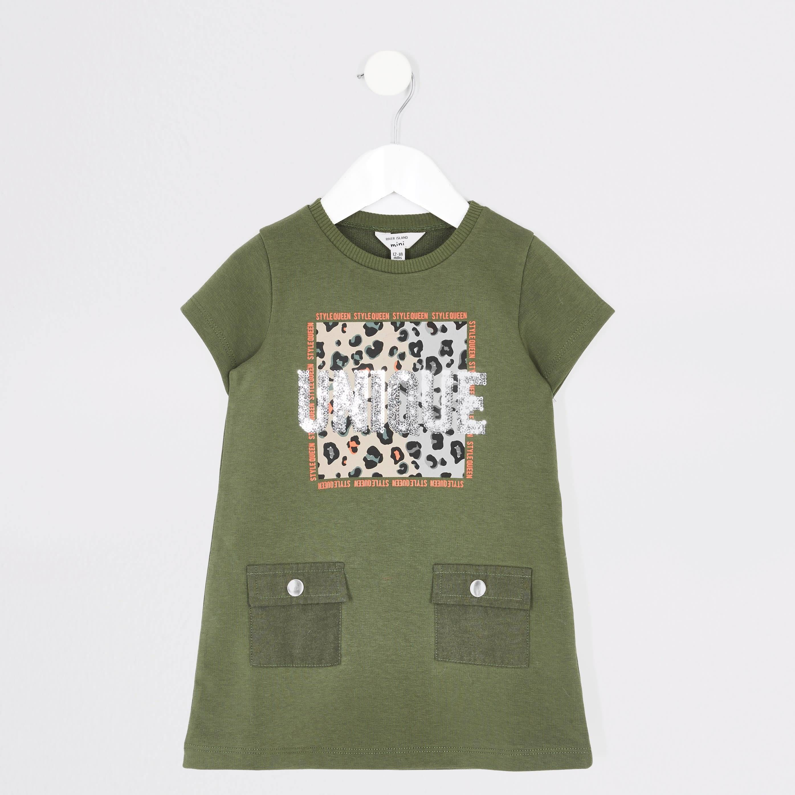 River Island Baby Girls Khaki 'Unique' T-shirt dress (3-4 Yrs)