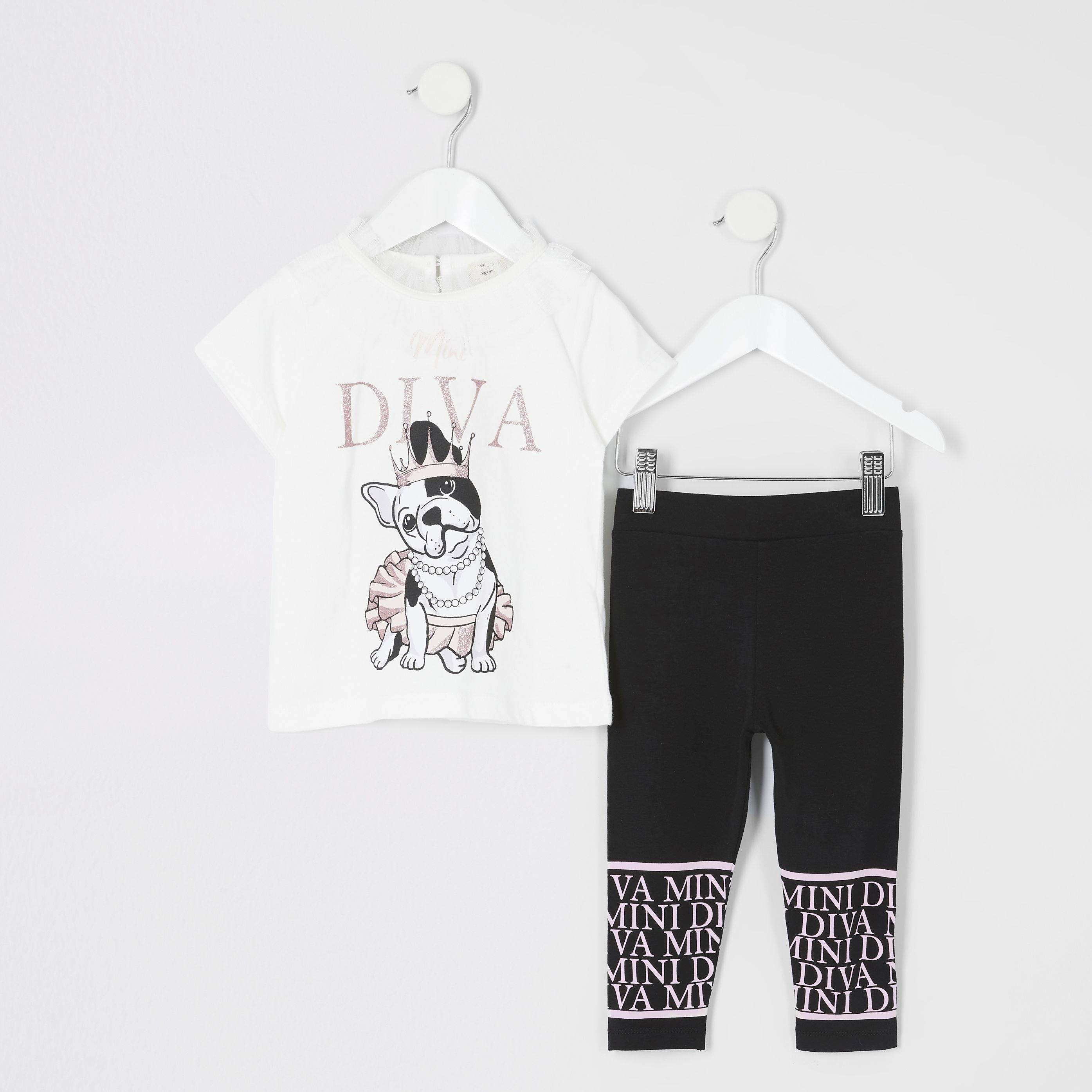 River Island Baby Girls Cream 'Diva' T-shirt outfit (4-5 Yrs)