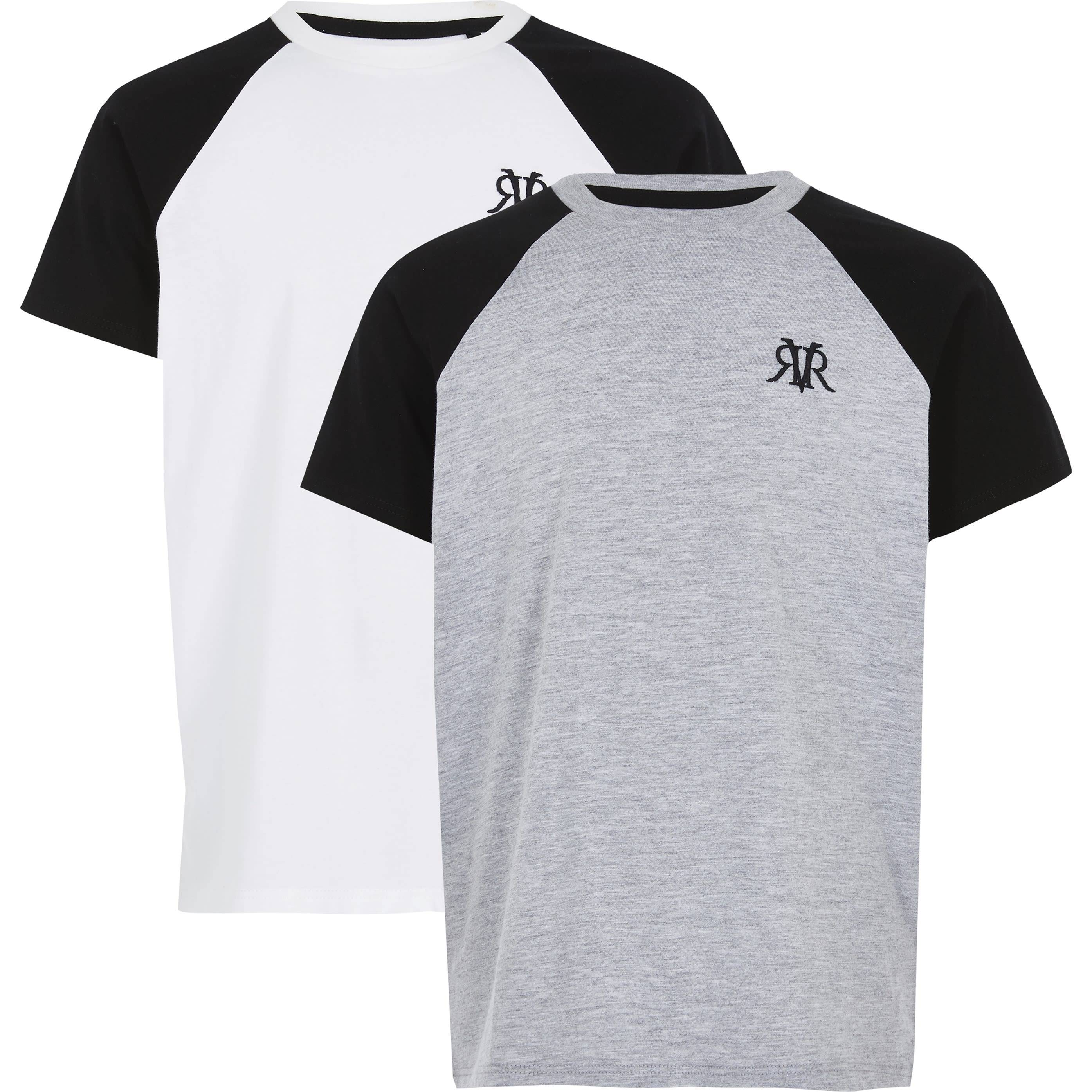 River Island Boys White RVR raglan T-shirt 2 pack (5-6 Yrs)