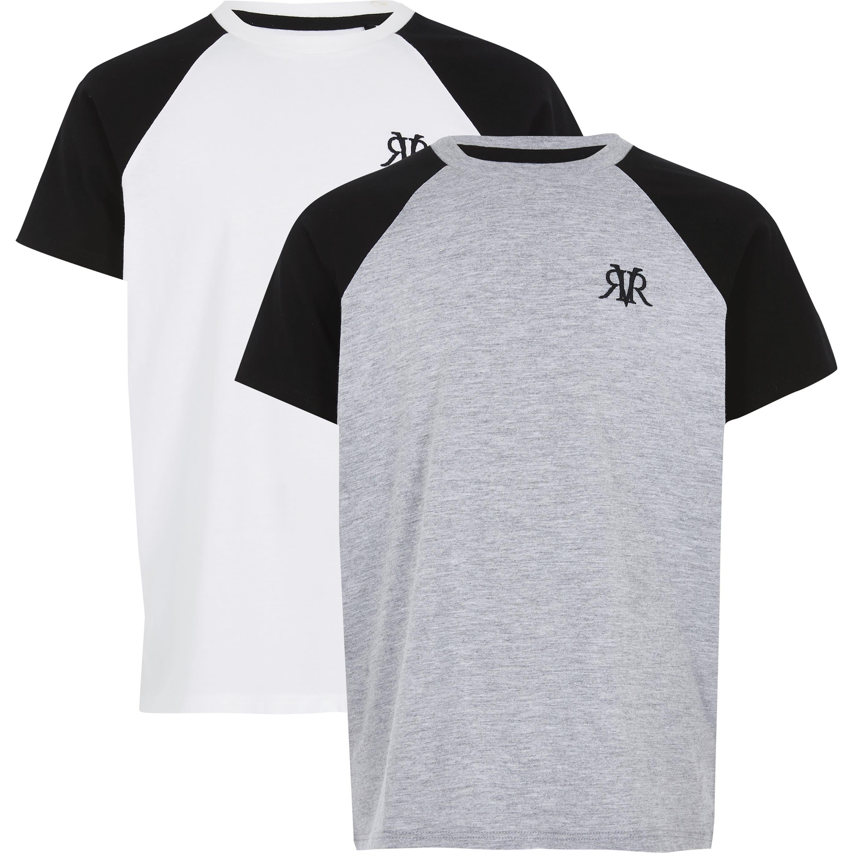 River Island Boys White RVR raglan T-shirt 2 pack (7-8 Yrs)