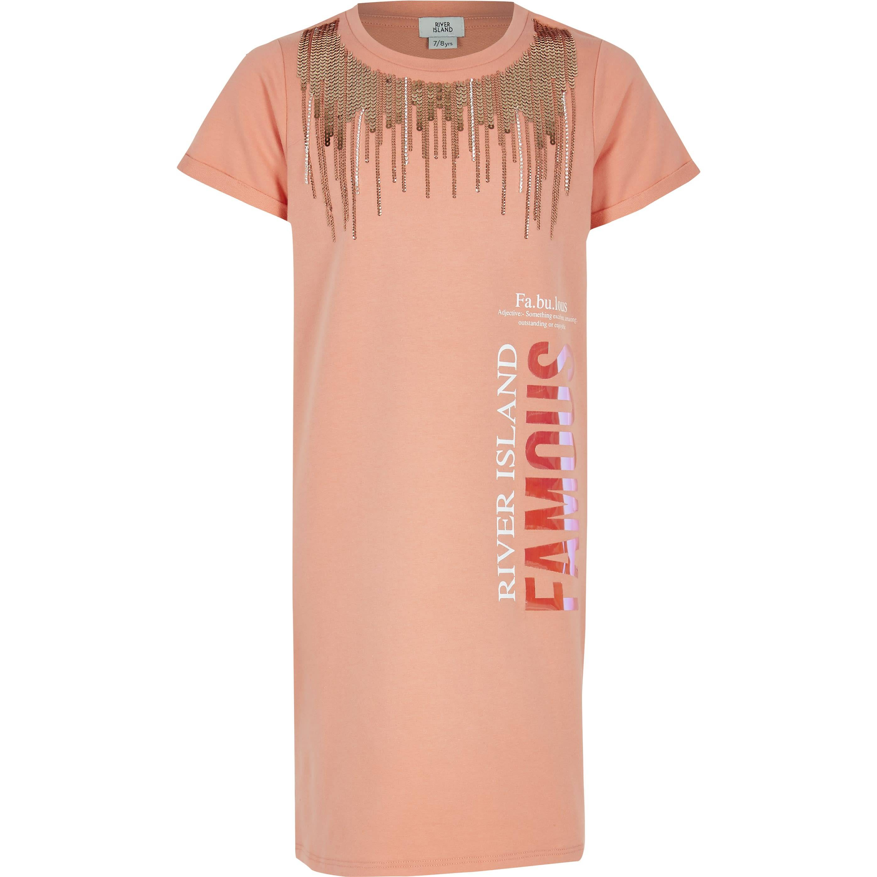 River Island Girls Orange Famous embellished T-shirt dress (7-8 Yrs)