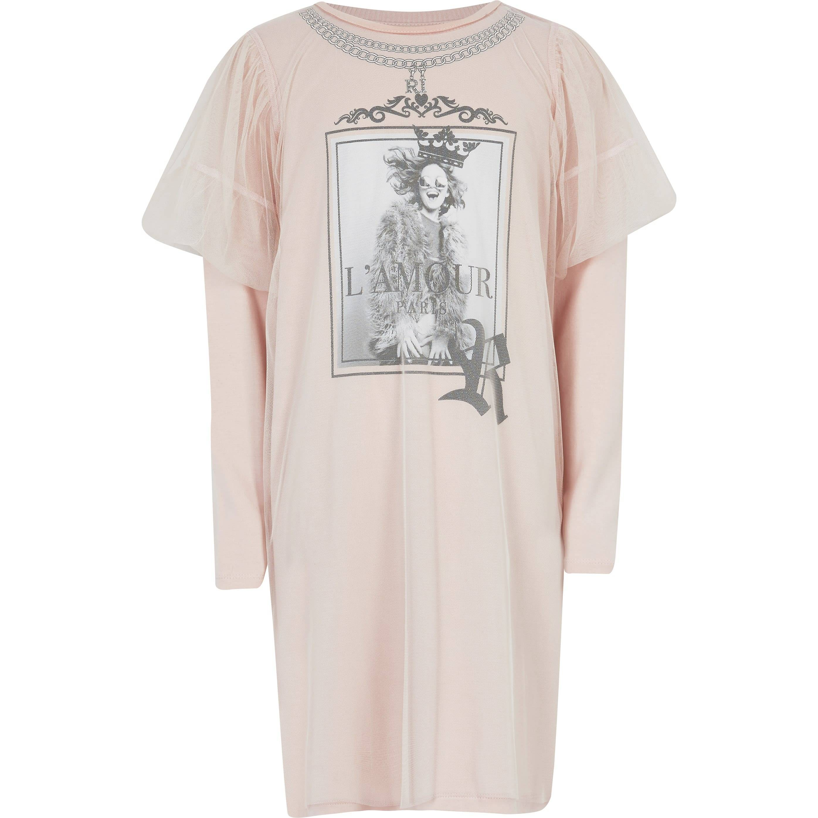 River Island Girls Pink printed mesh T-shirt dress (9-10 Yrs)