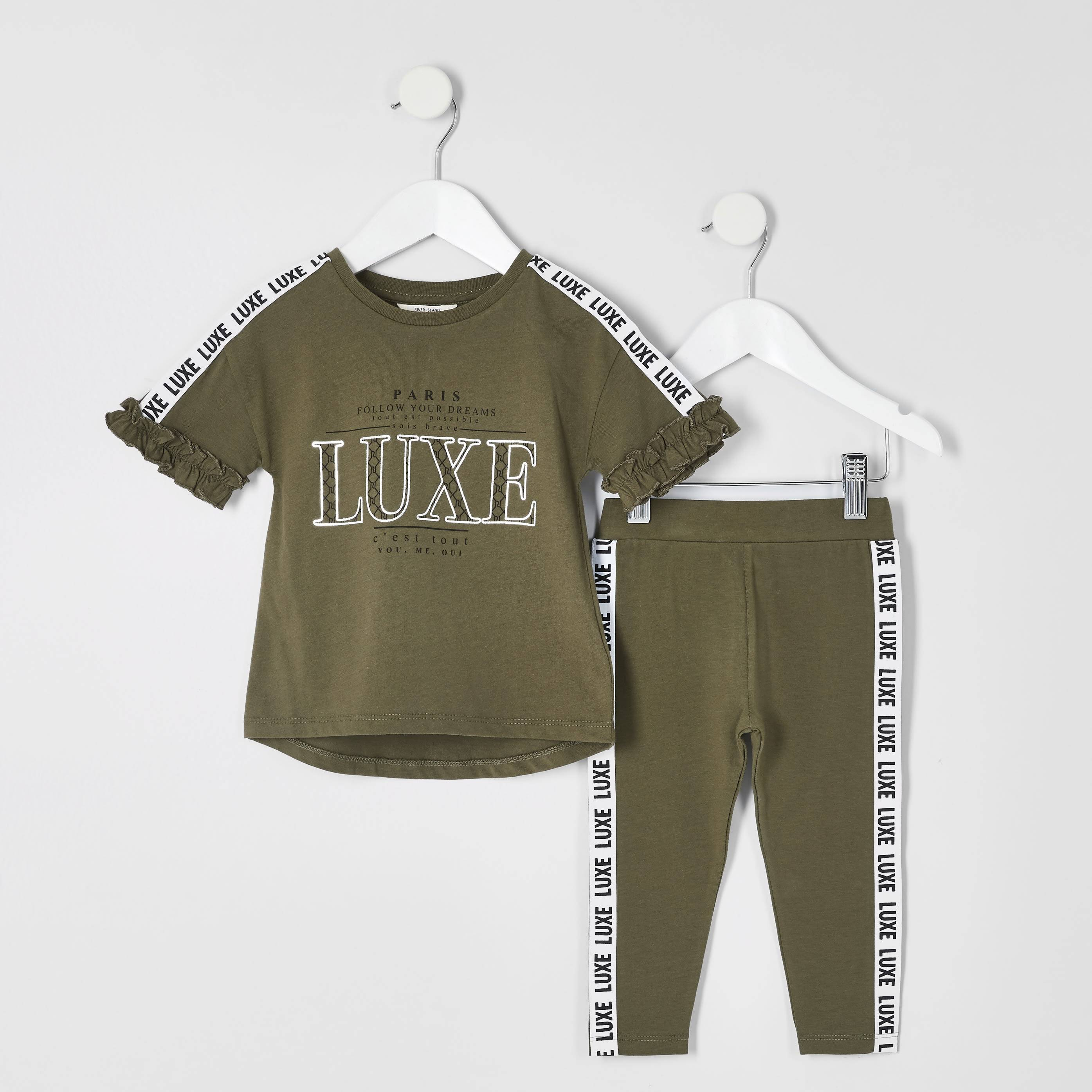 River Island Baby Girls Khaki 'Luxe' tape T-shirt outfit (9-12 Mths)
