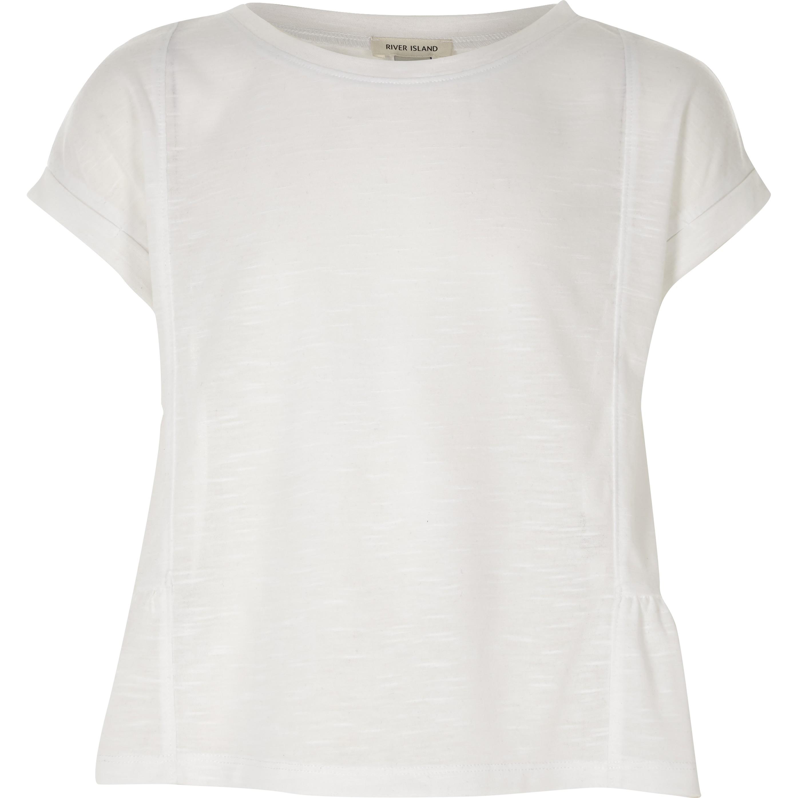 River Island Girls White peplum T-shirt (7-8 Yrs)