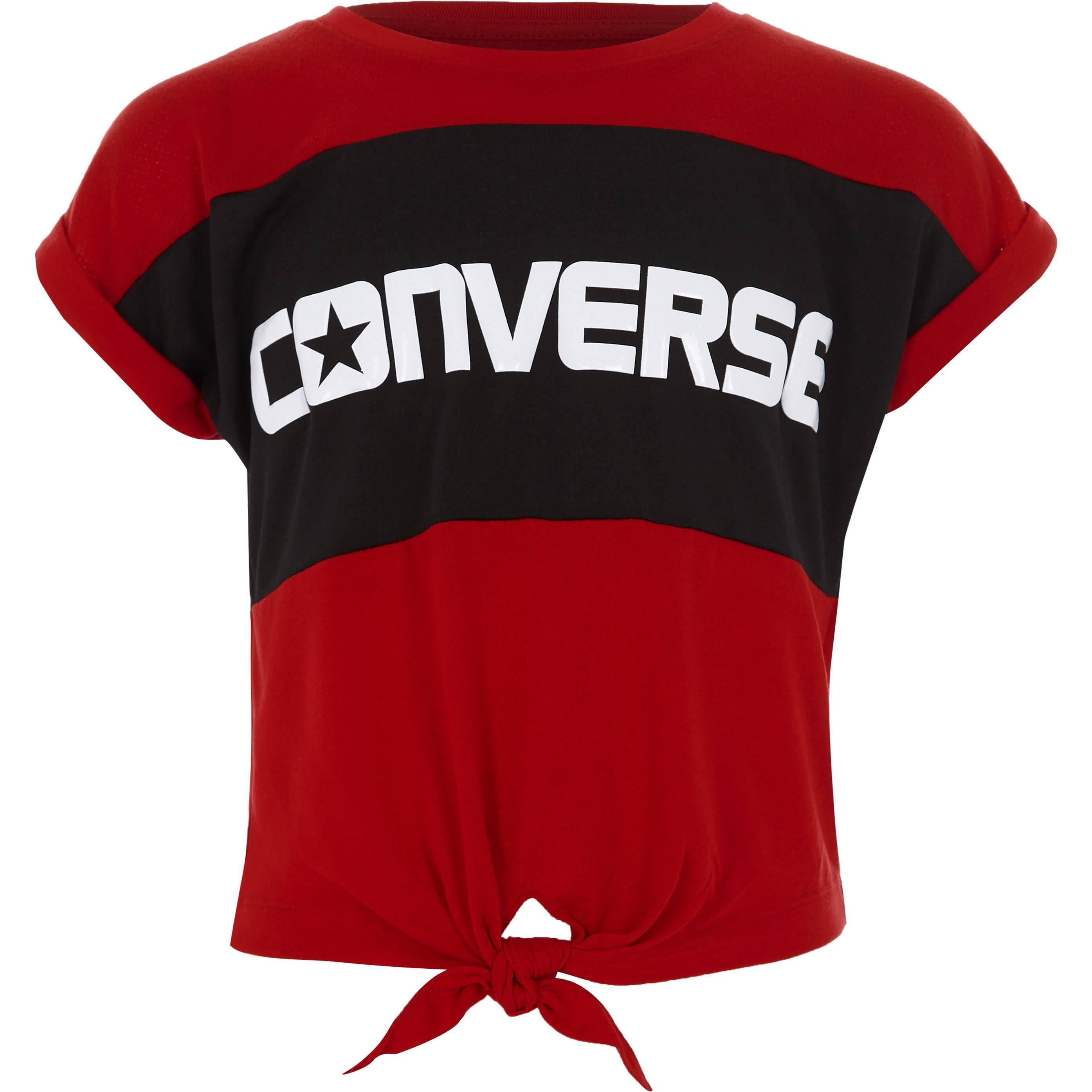 Converse Girls Converse Red block knot front T-shirt (6-7 Yrs)