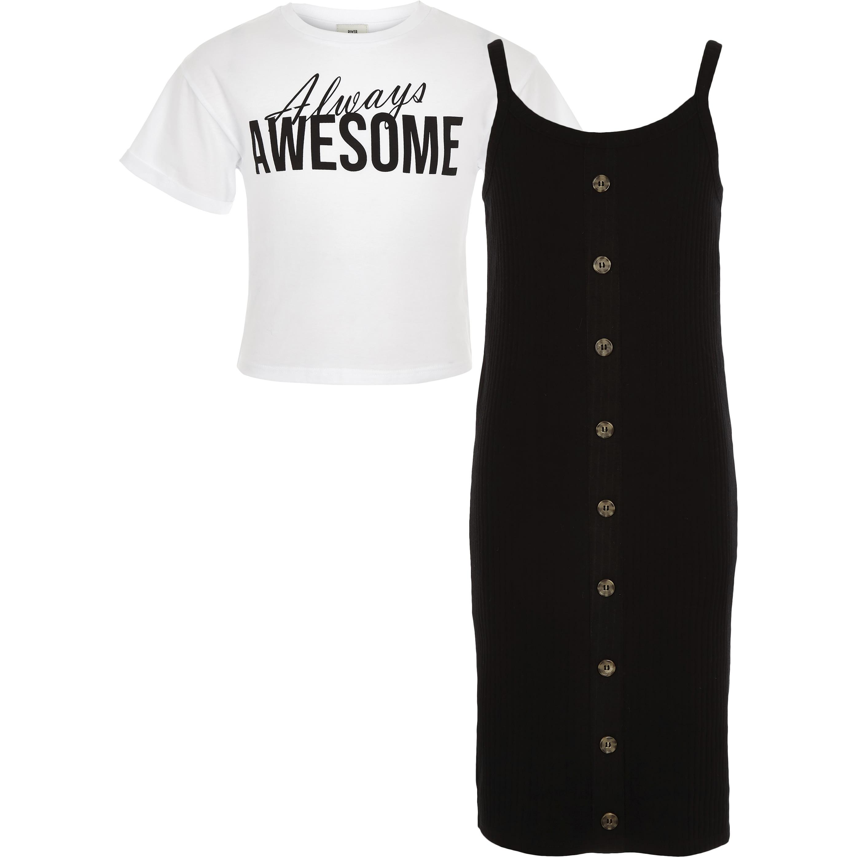 River Island Girls Black 2 in 1 T-shirt dress (11-12 Yrs)