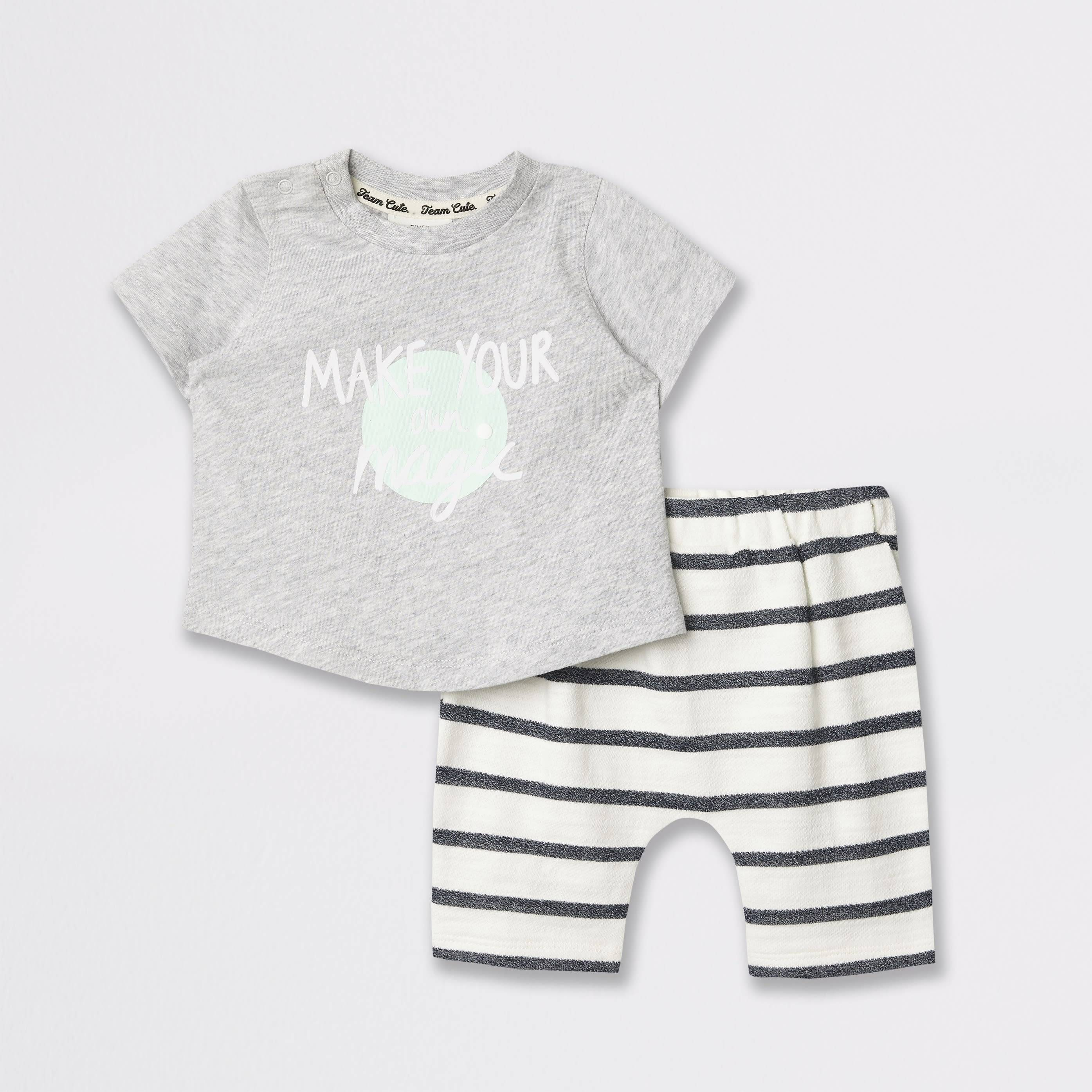 River Island Baby Grey graphic print T-shirt outfit (0-1 Mths)