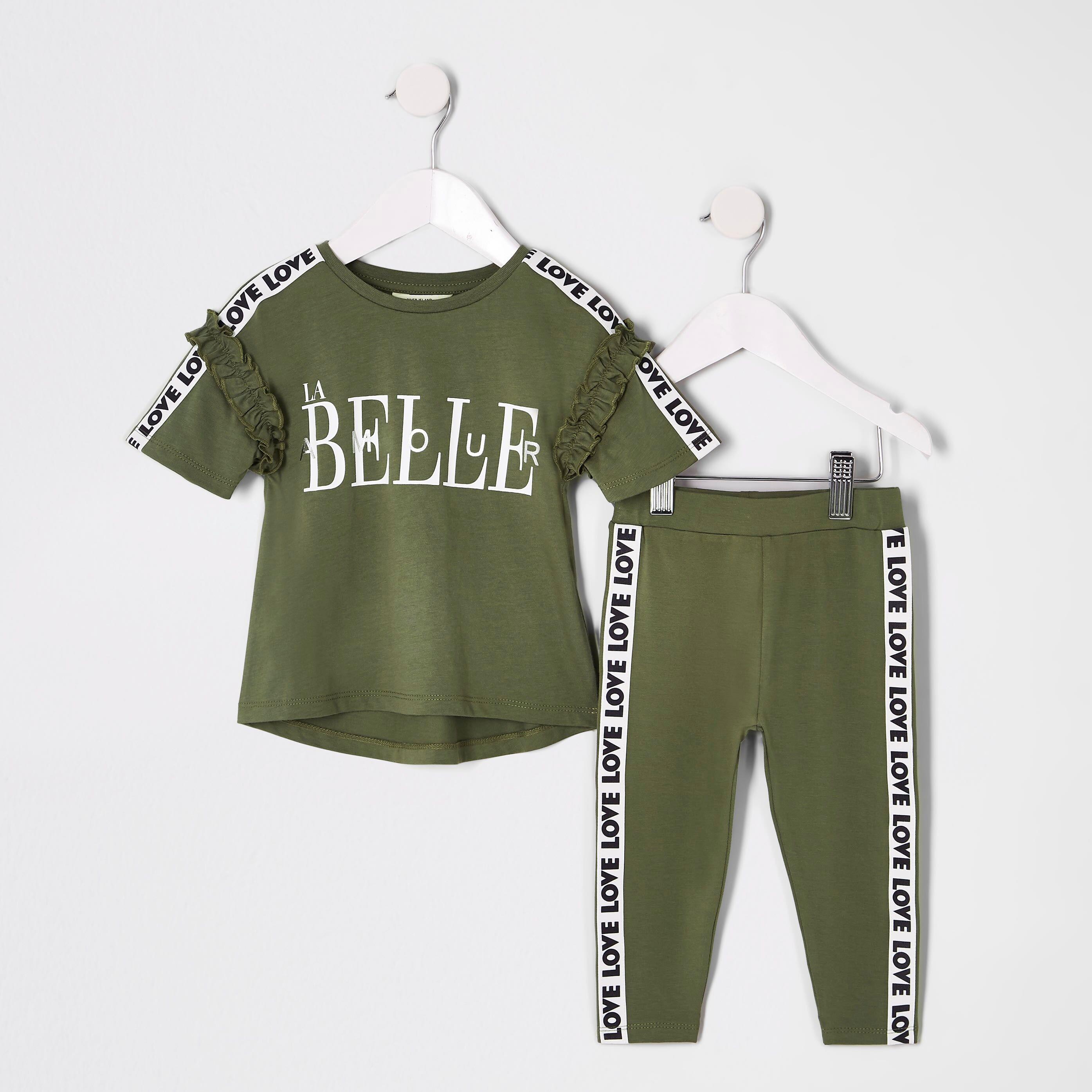 River Island Baby Girls Khaki 'La belle' T-shirt outfit (6-9 Mths)