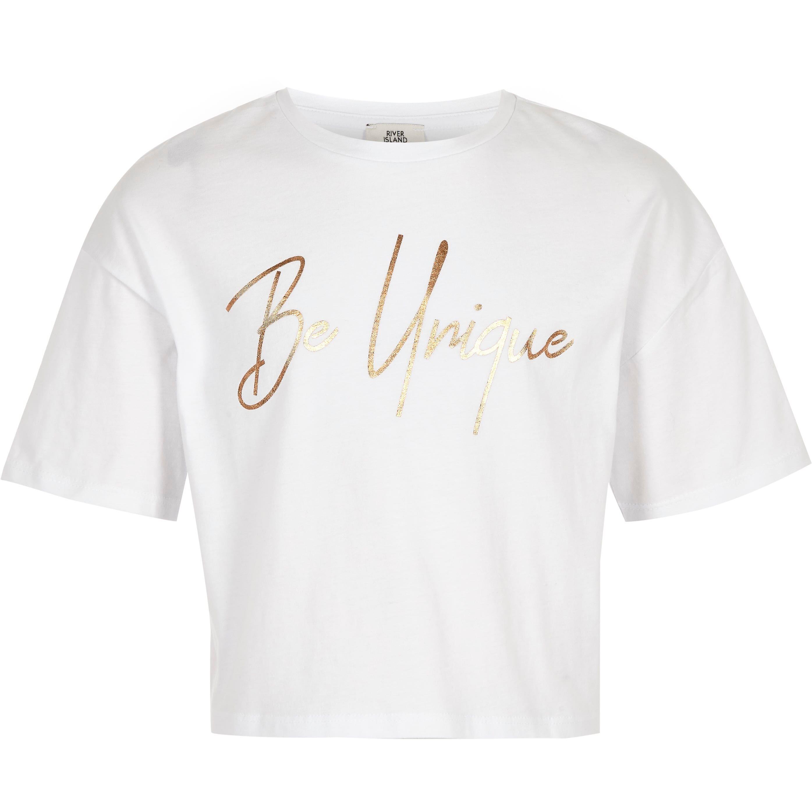 River Island Girls White 'Be unique' crop T-shirt (5-6 Yrs)