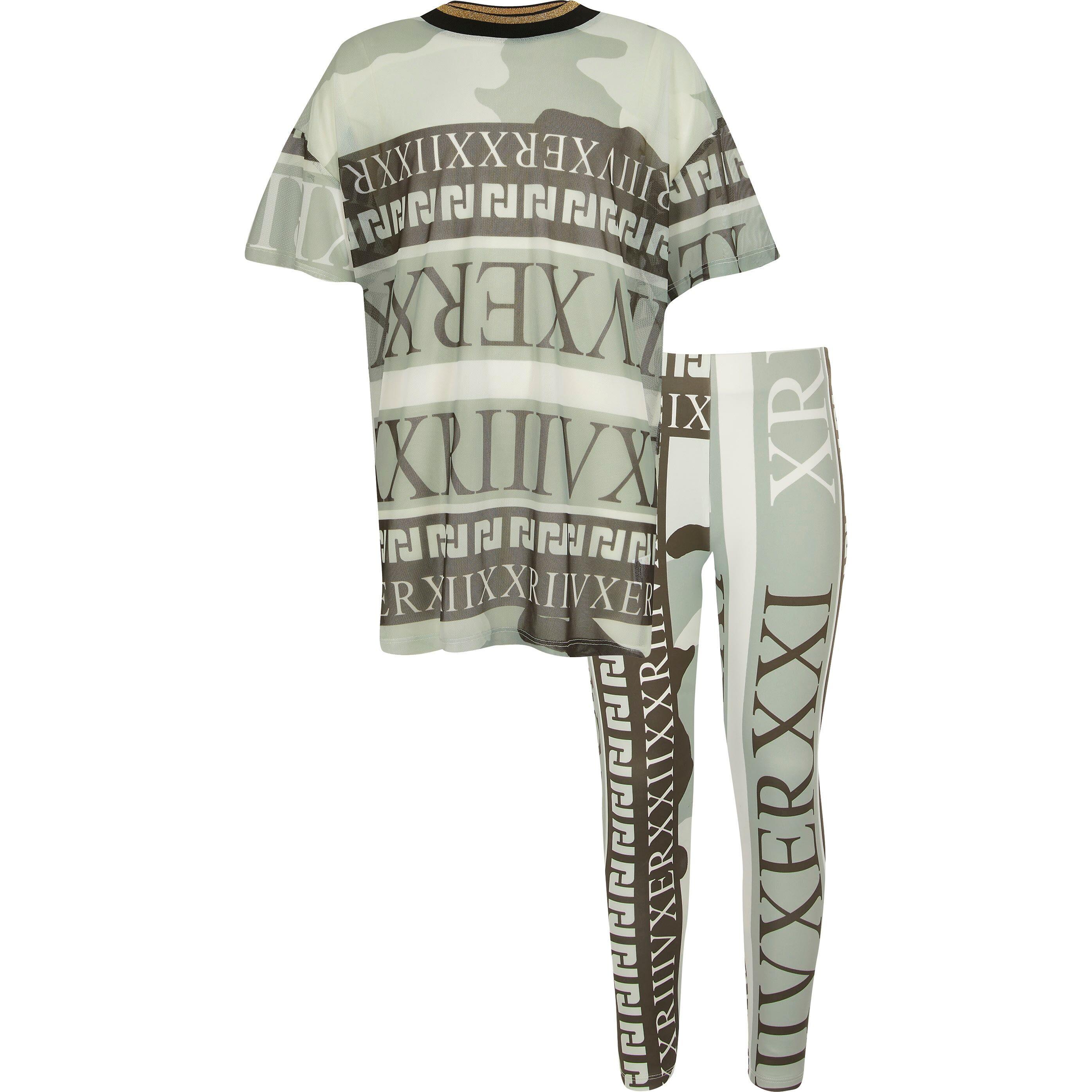 River Island Girls Green camo mesh T-shirt outfit (7-8 Yrs)