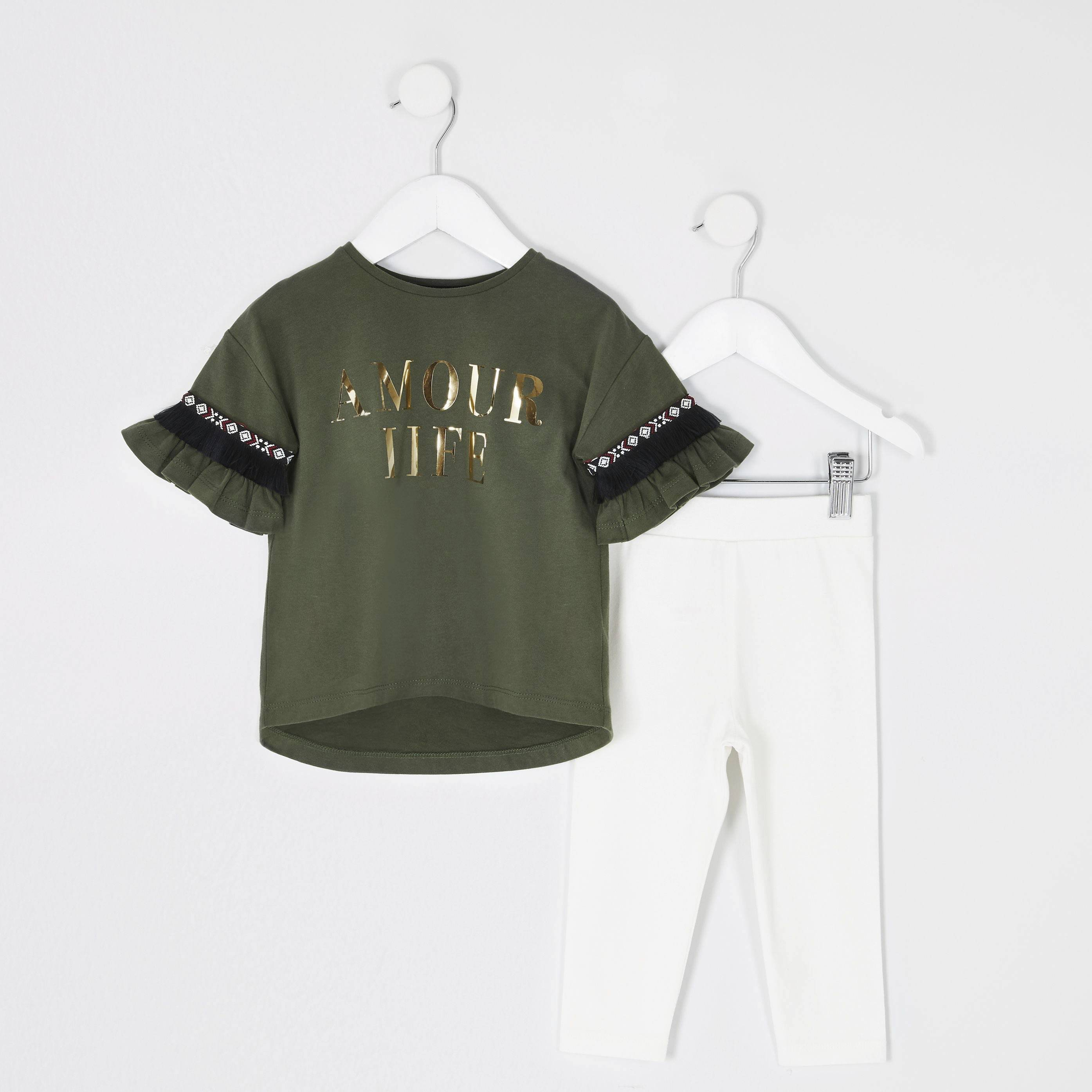 River Island Baby Girls Khaki print frill T-shirt outfit (6-9 Mths)