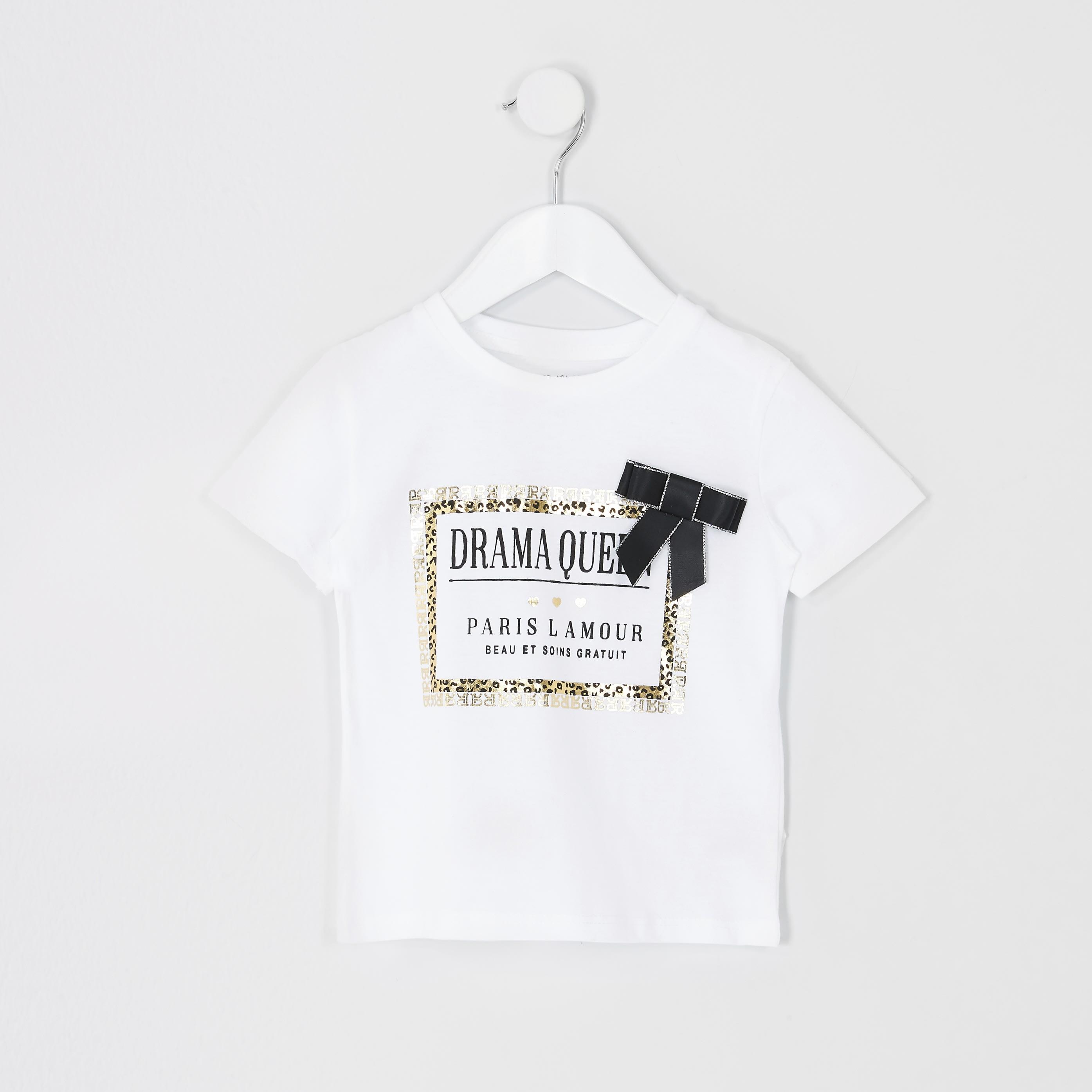 River Island Baby Girls White leopard print trim T-shirt (6-9 Mths)