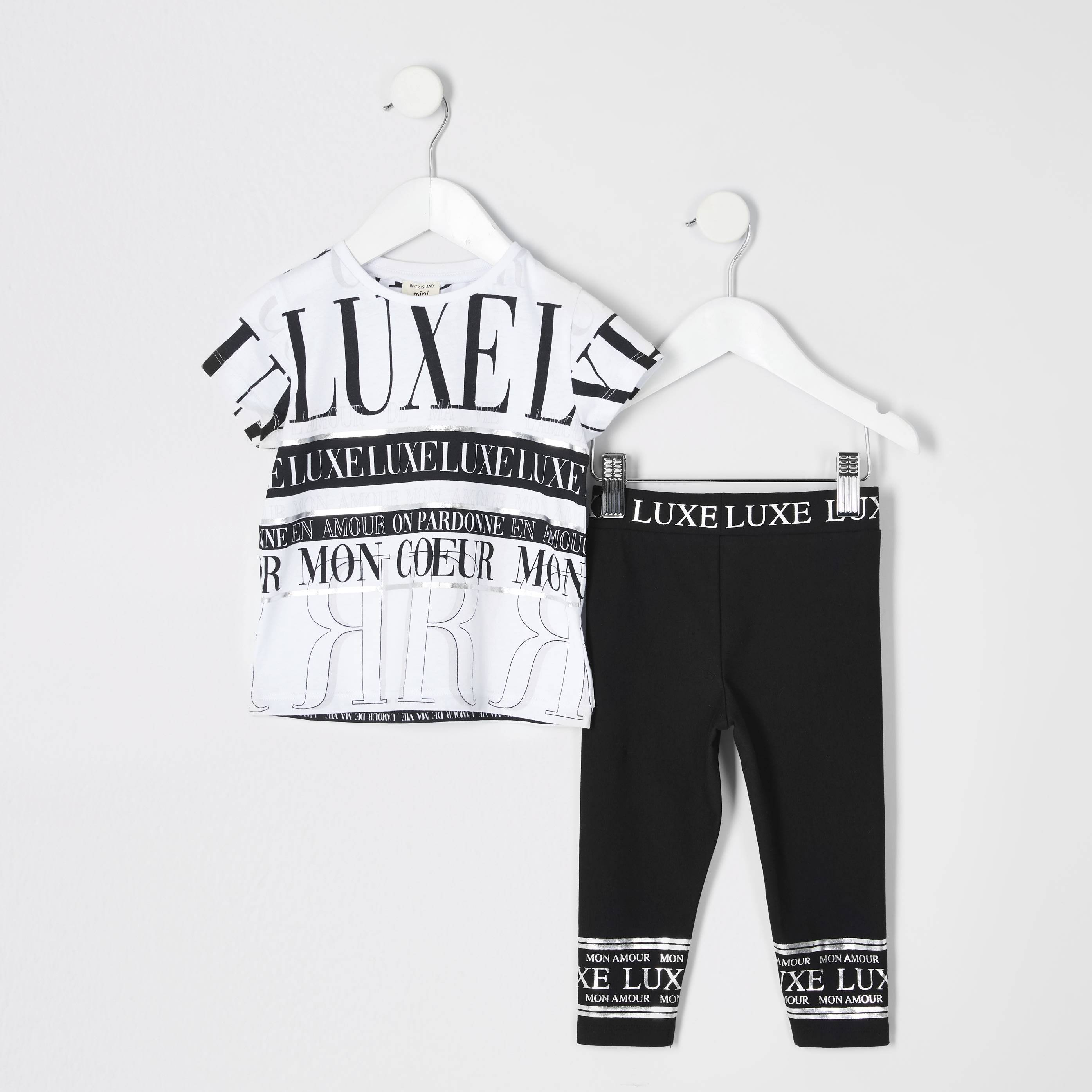 River Island Baby Girls White 'luxe' print T-shirt outfit (6-9 Mths)