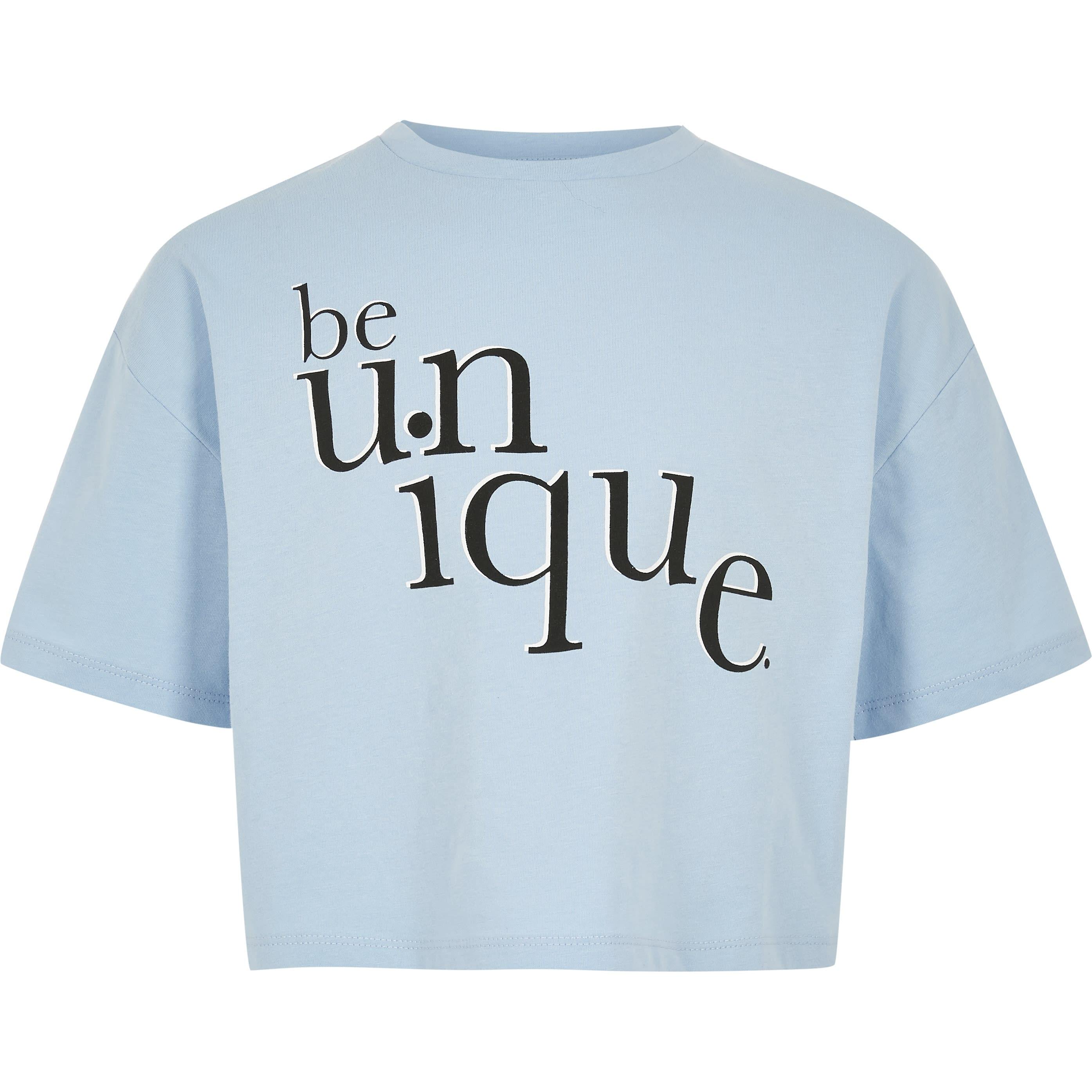 River Island Girls Blue 'Be unique' T-shirt (7-8 Yrs)