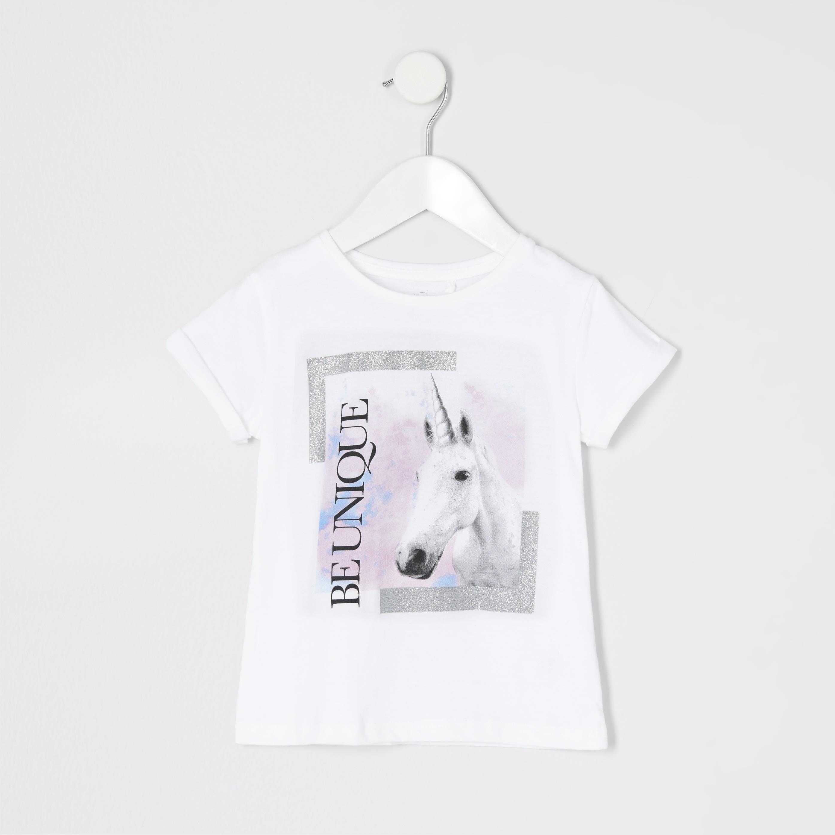 River Island Baby Girls 'be unique' unicorn print T-shirt (3-6 Mths)