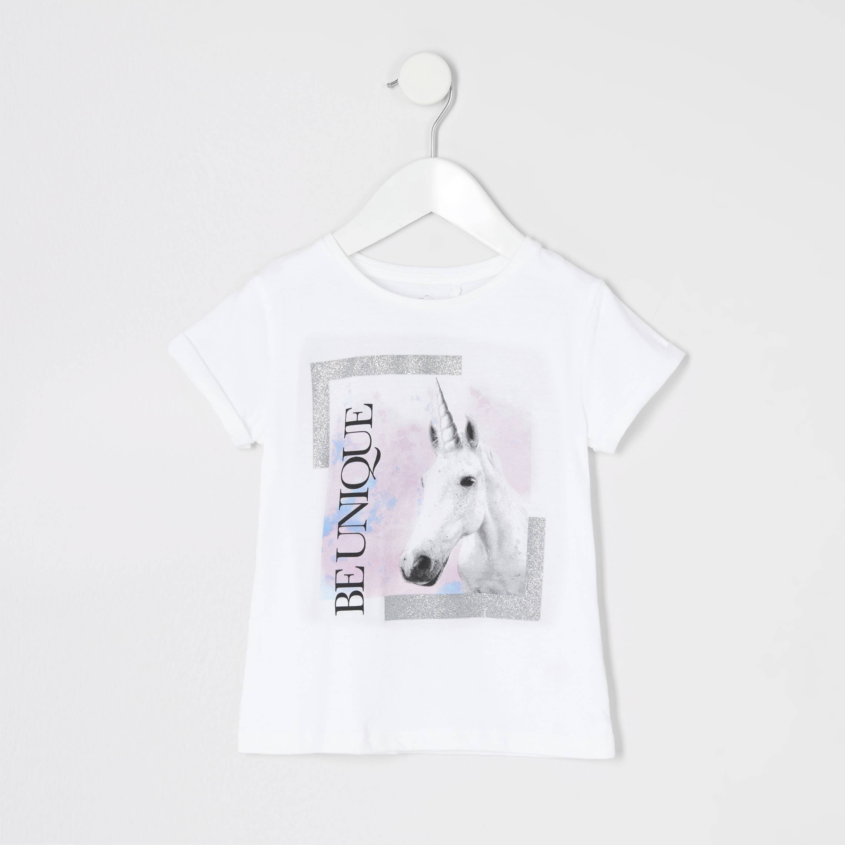 River Island Baby Girls 'be unique' unicorn print T-shirt (9-12 Mths)