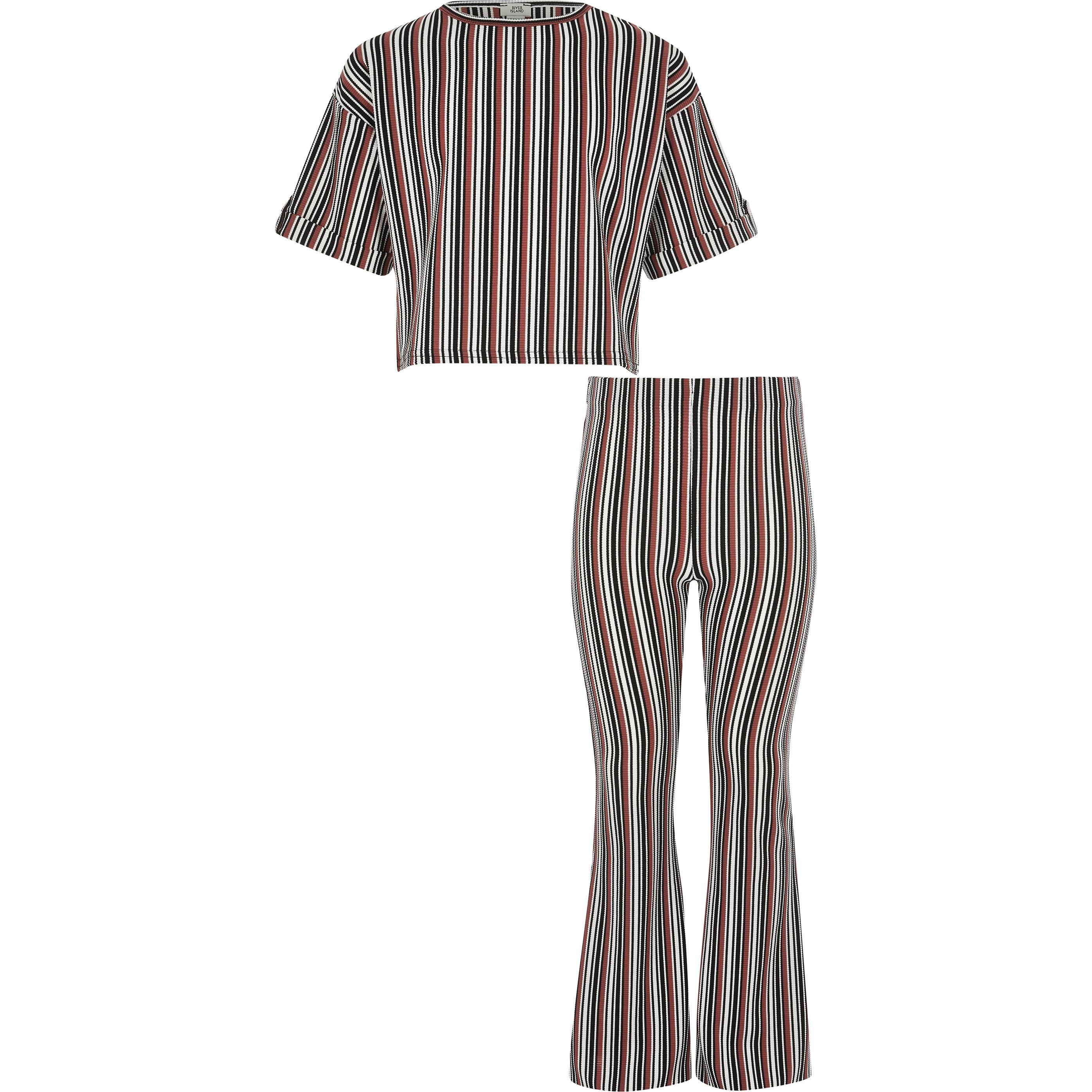 River Island Girls Black stripe T-shirt outfit (11-12 Yrs)