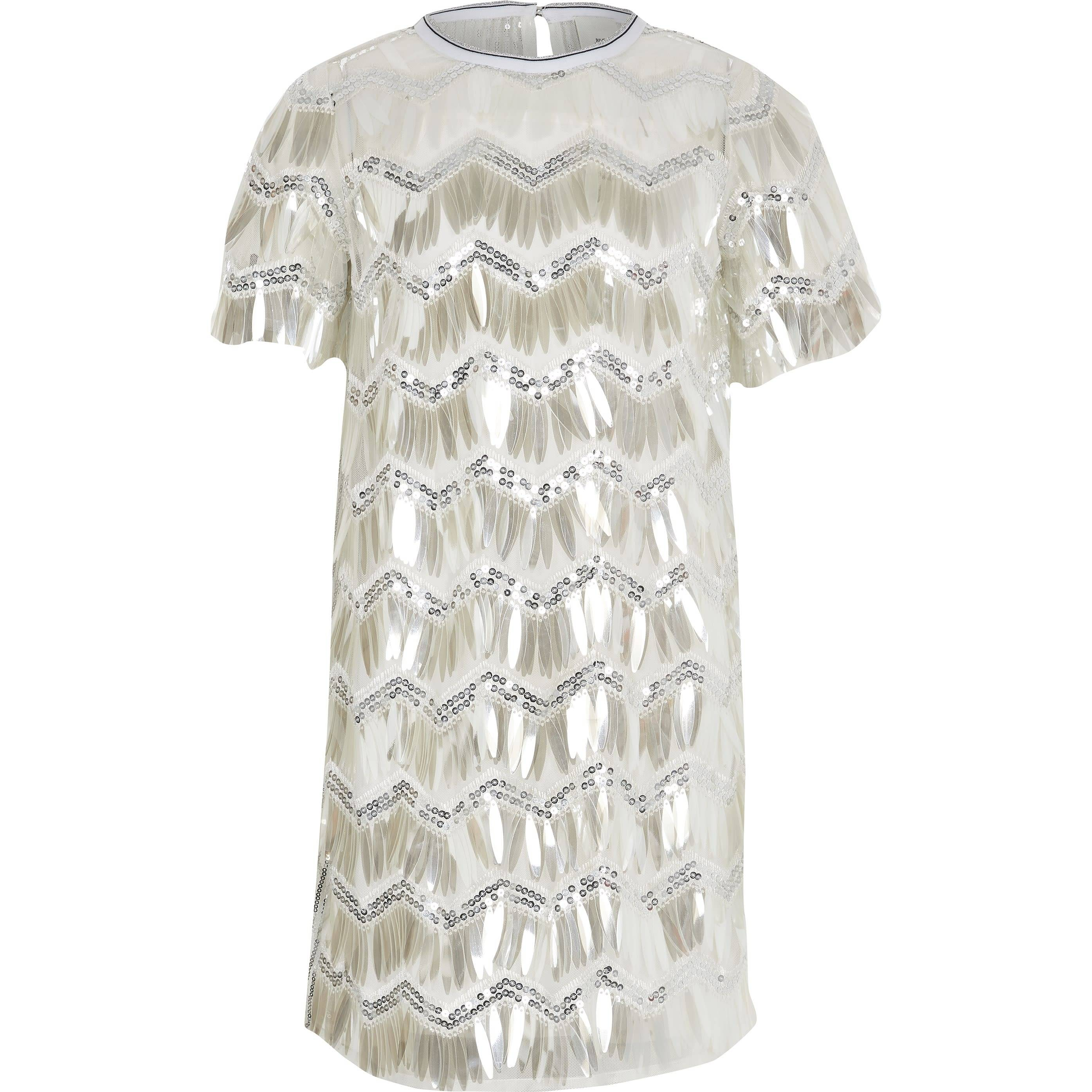 River Island Girls Silver sequin T-shirt dress (9 Yrs)