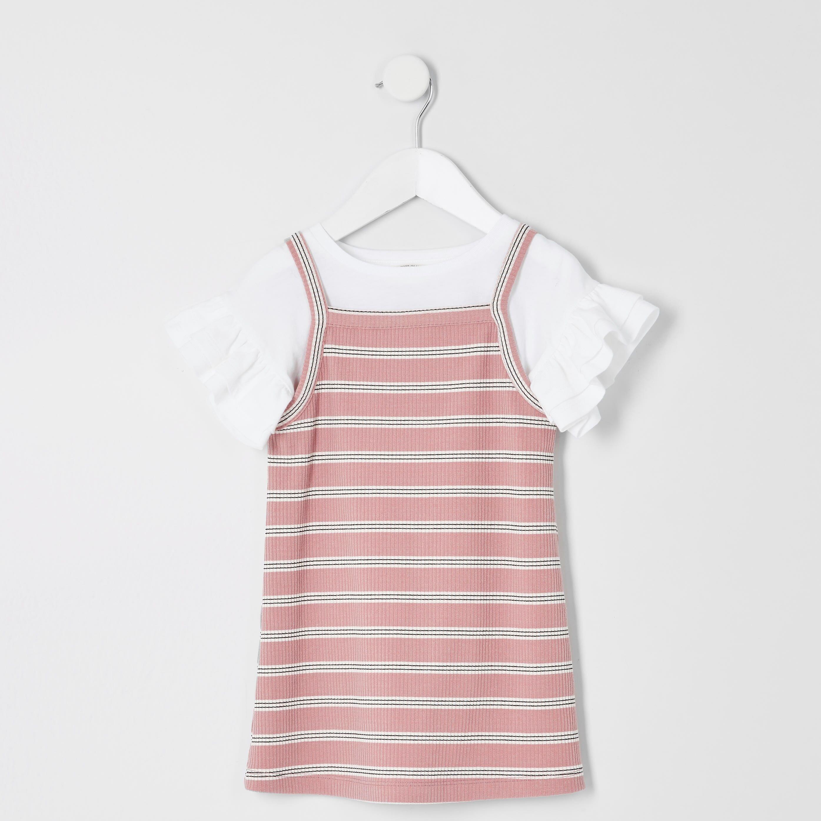 River Island Baby Girls 2 in 1 Pink stripe T-shirt dress (6-9 Mths)